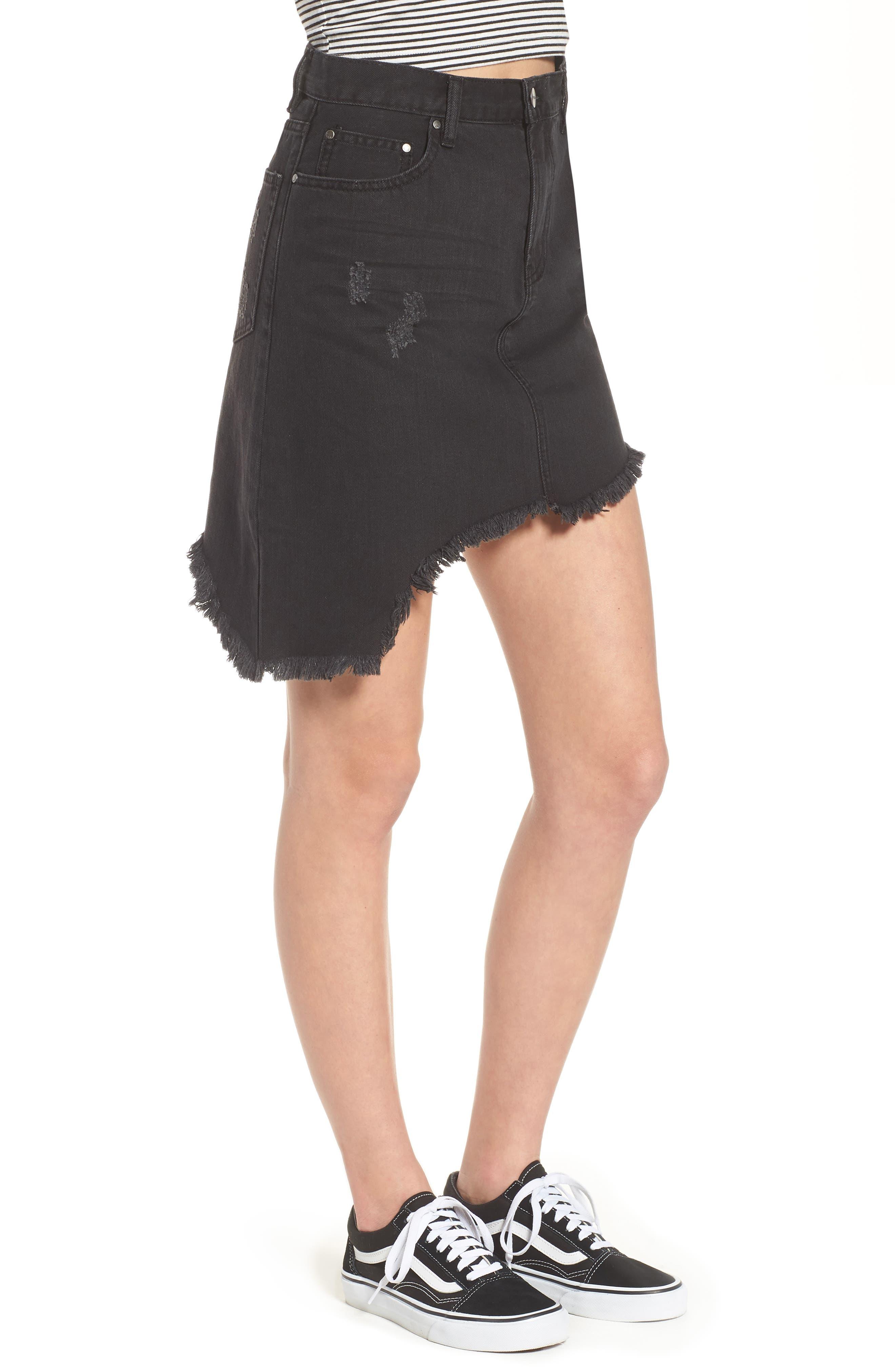 EVDNT Modena Asymmetrical Denim Skirt,                             Alternate thumbnail 3, color,                             Black Sheep
