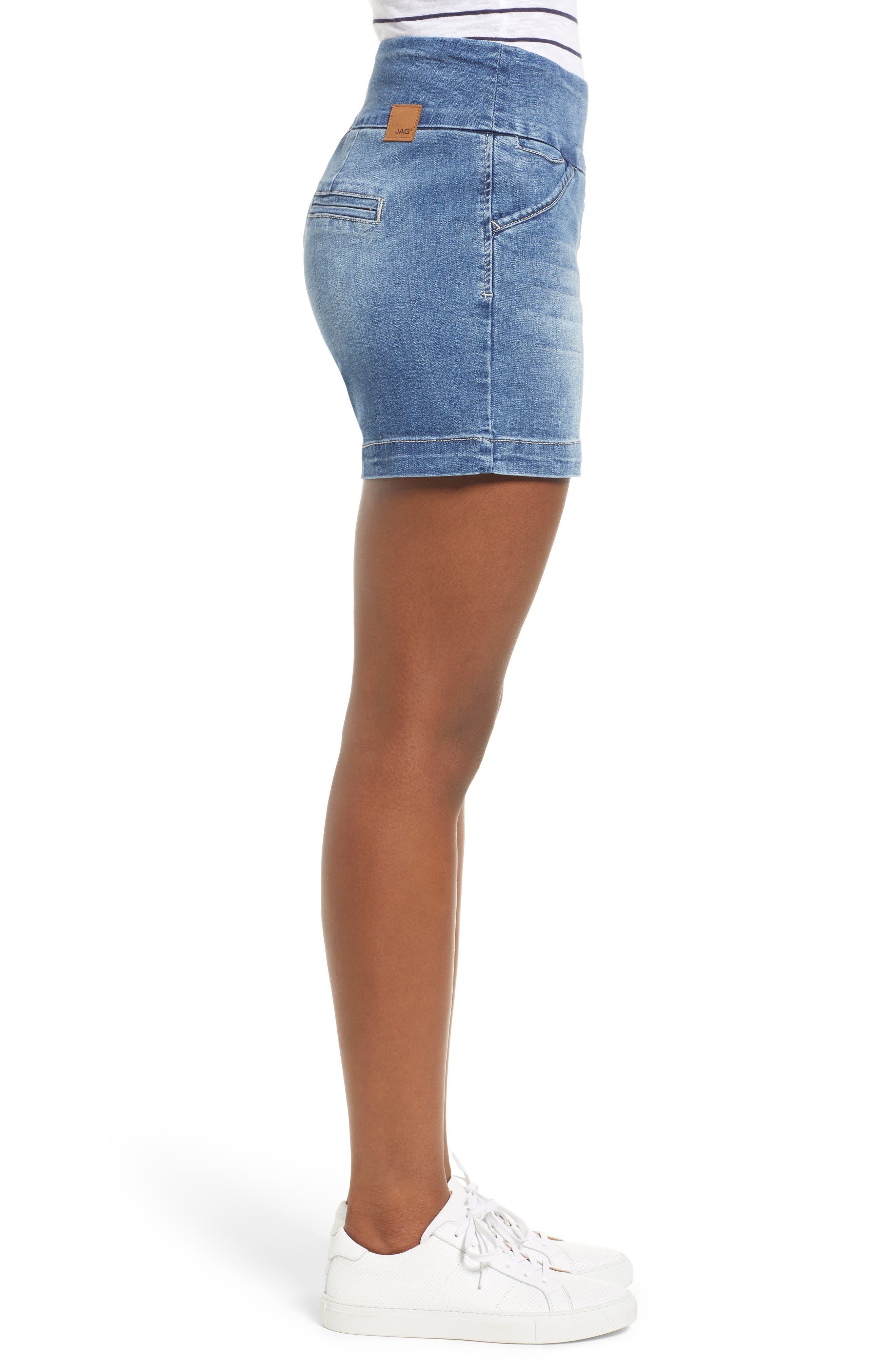 Ainsley 5 Denim Shorts,                             Alternate thumbnail 3, color,                             Med Indigo