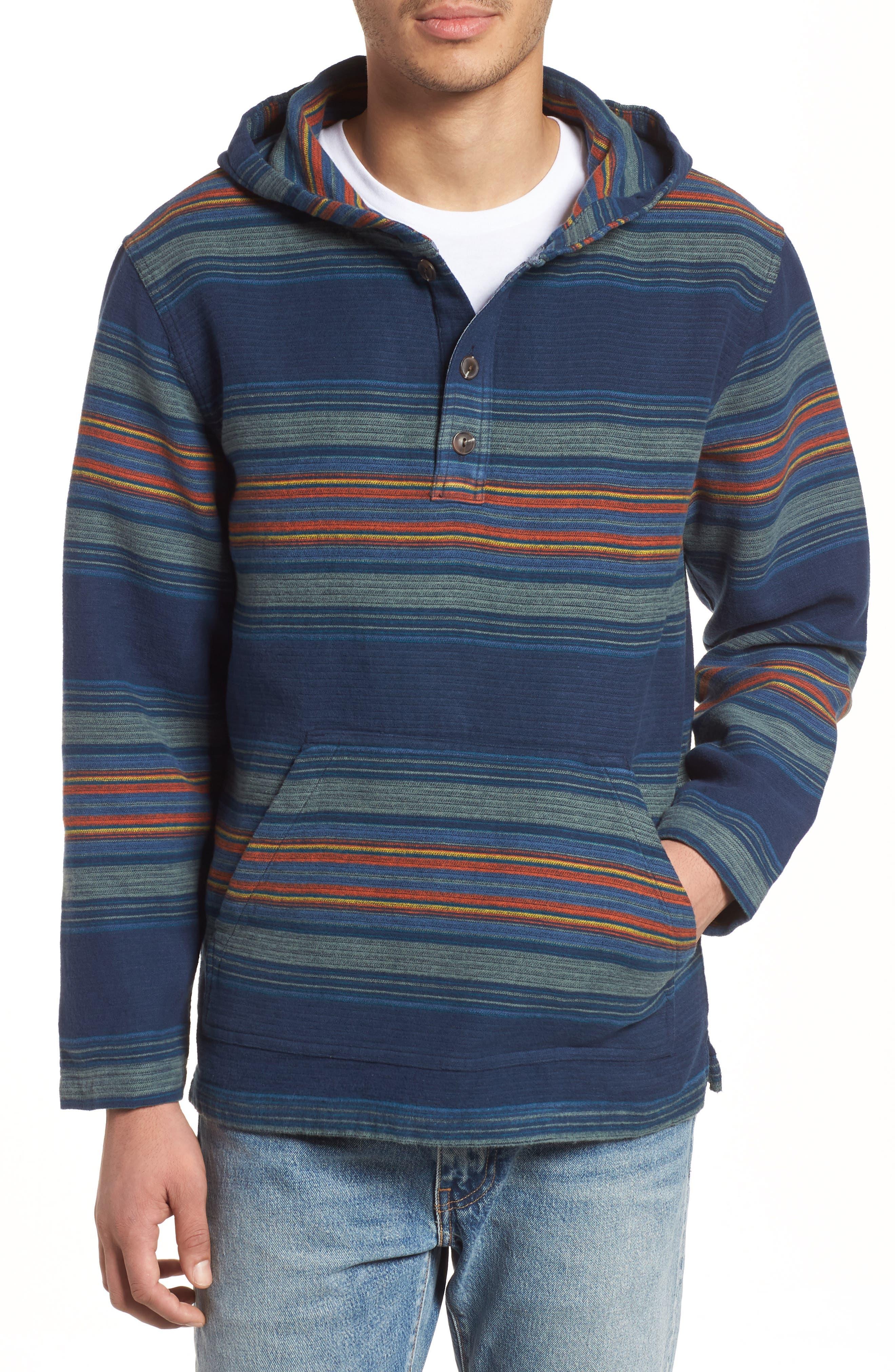 Serape Stripe Hoodie,                             Main thumbnail 1, color,                             Blue/ Green Stripe