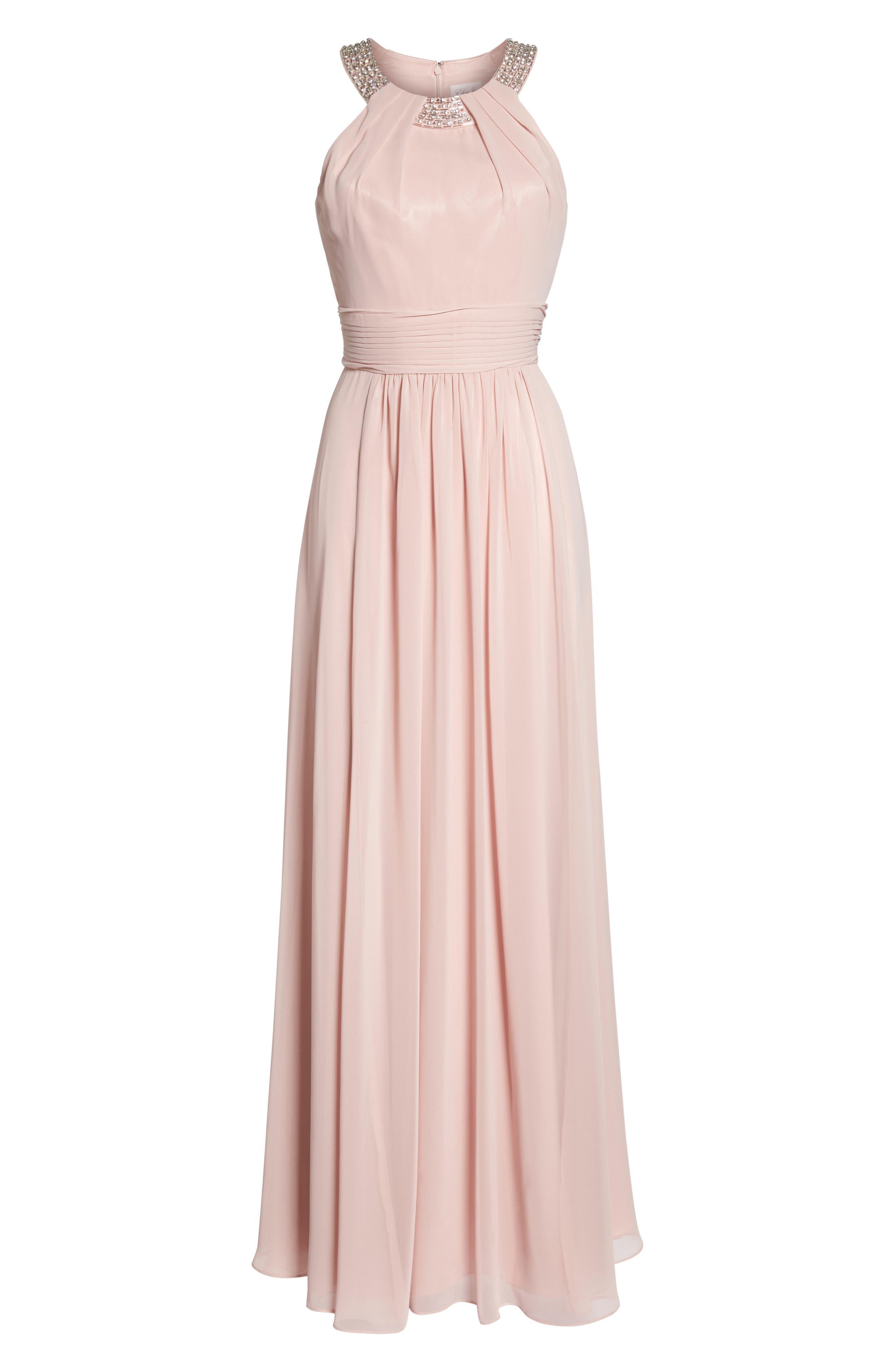 Beaded Halter Gown,                             Alternate thumbnail 6, color,                             Blush