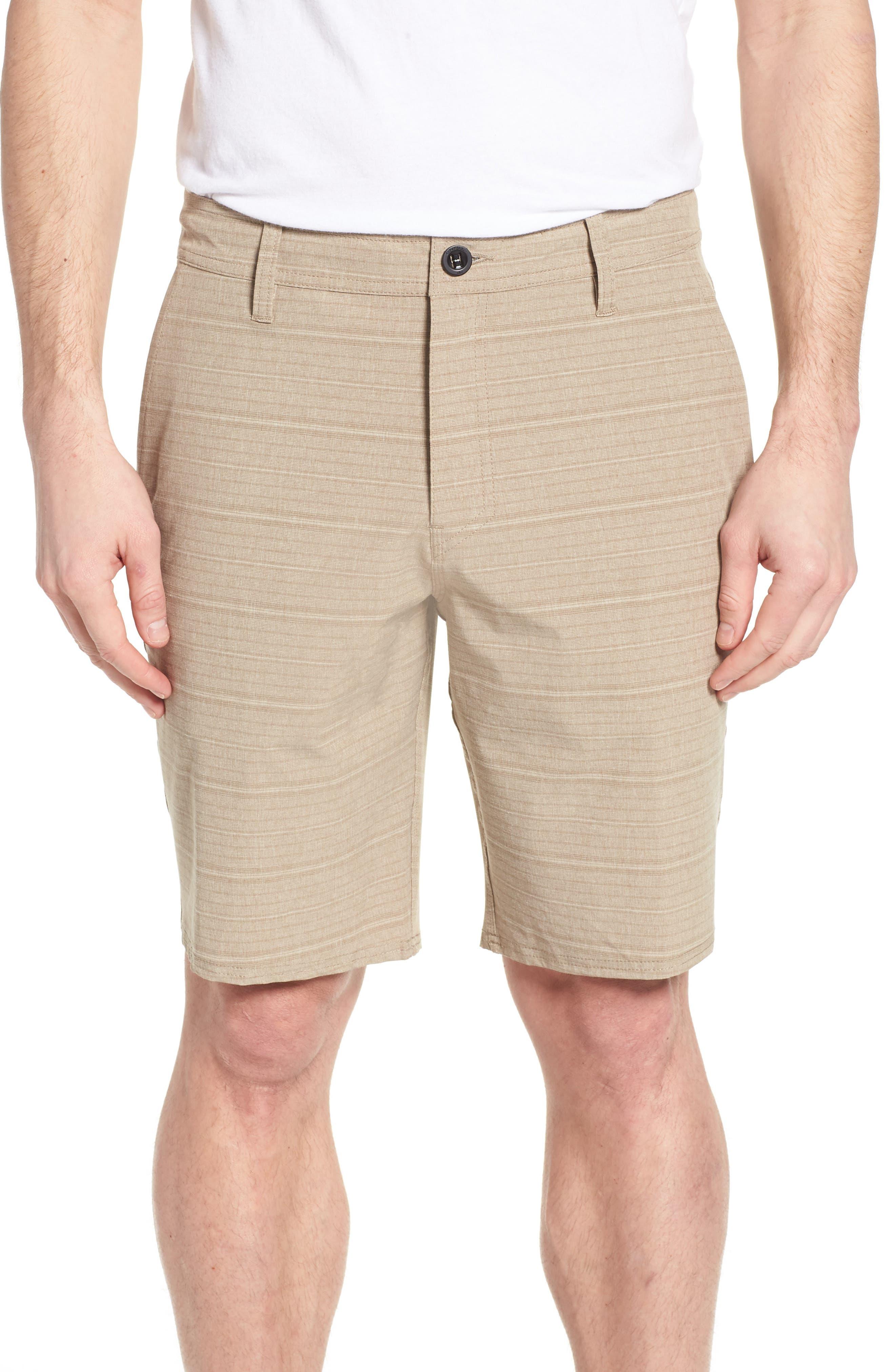 Locked Stripe Hybrid Shorts,                             Main thumbnail 1, color,                             Khaki