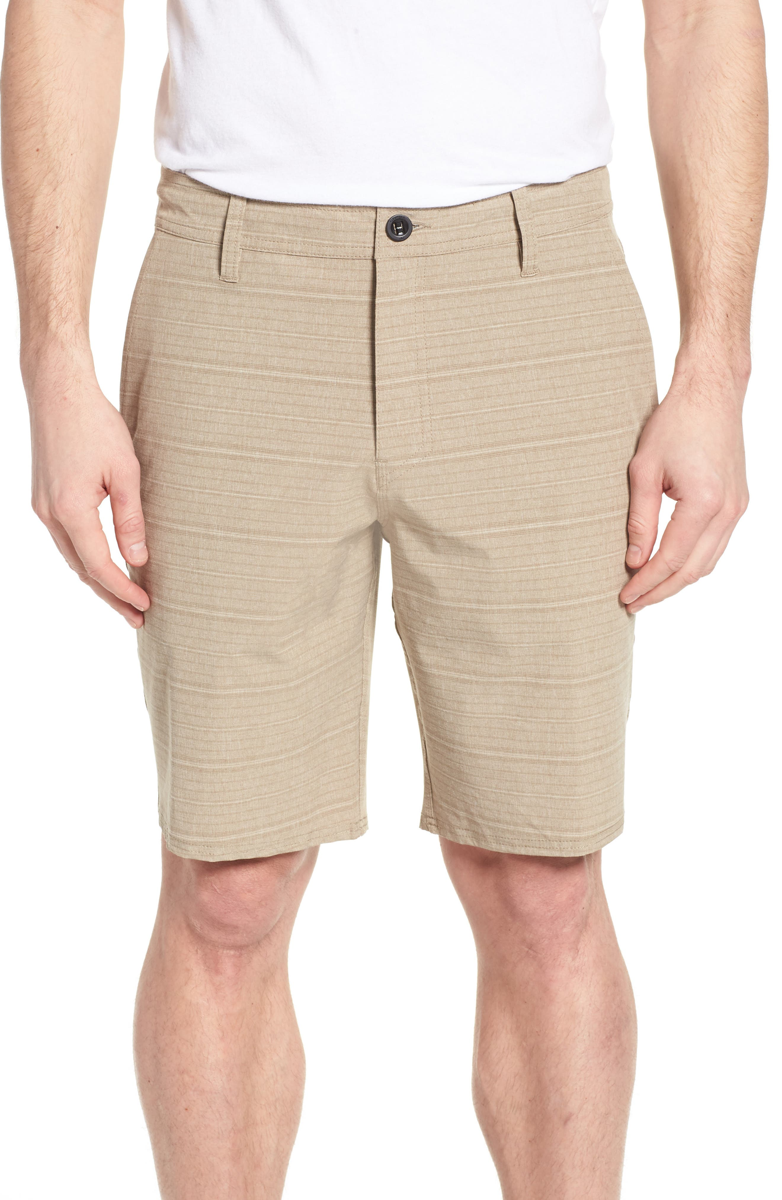 Locked Stripe Hybrid Shorts,                         Main,                         color, Khaki
