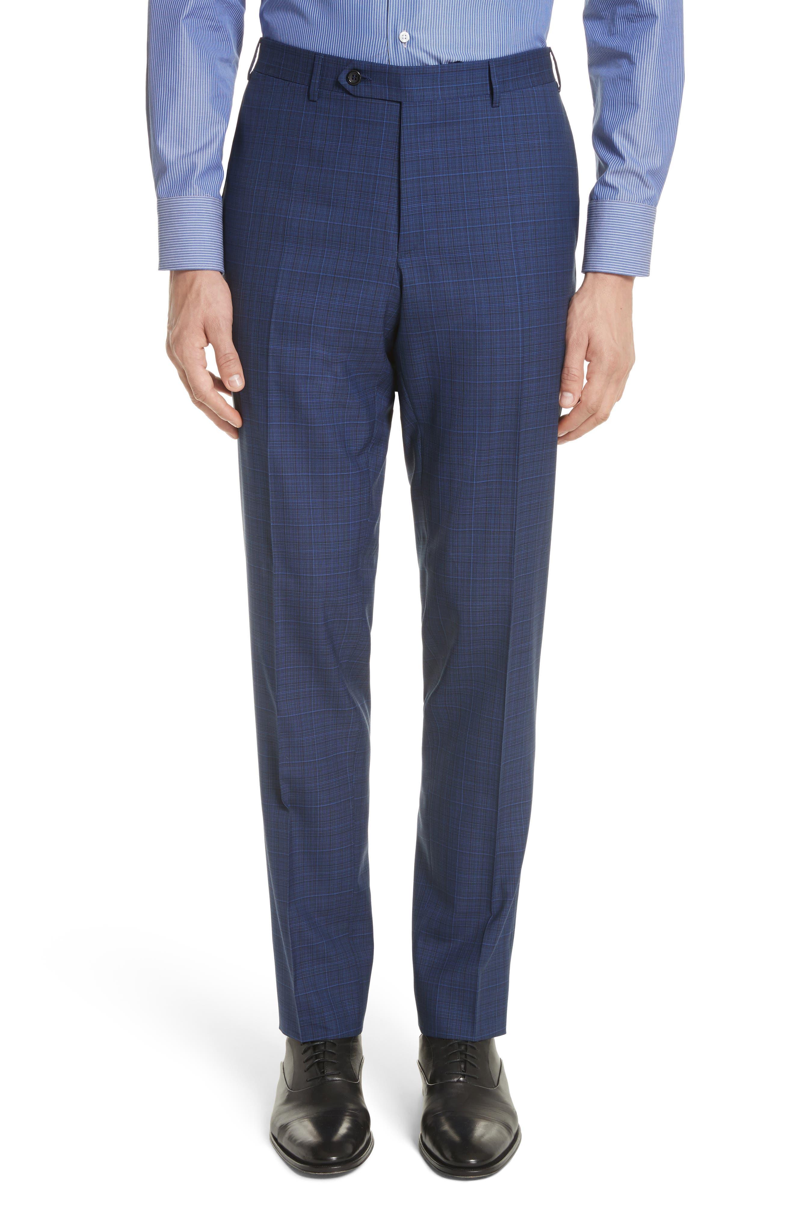 Classic Fit Tonal Plaid Wool Suit,                             Alternate thumbnail 6, color,                             Blue