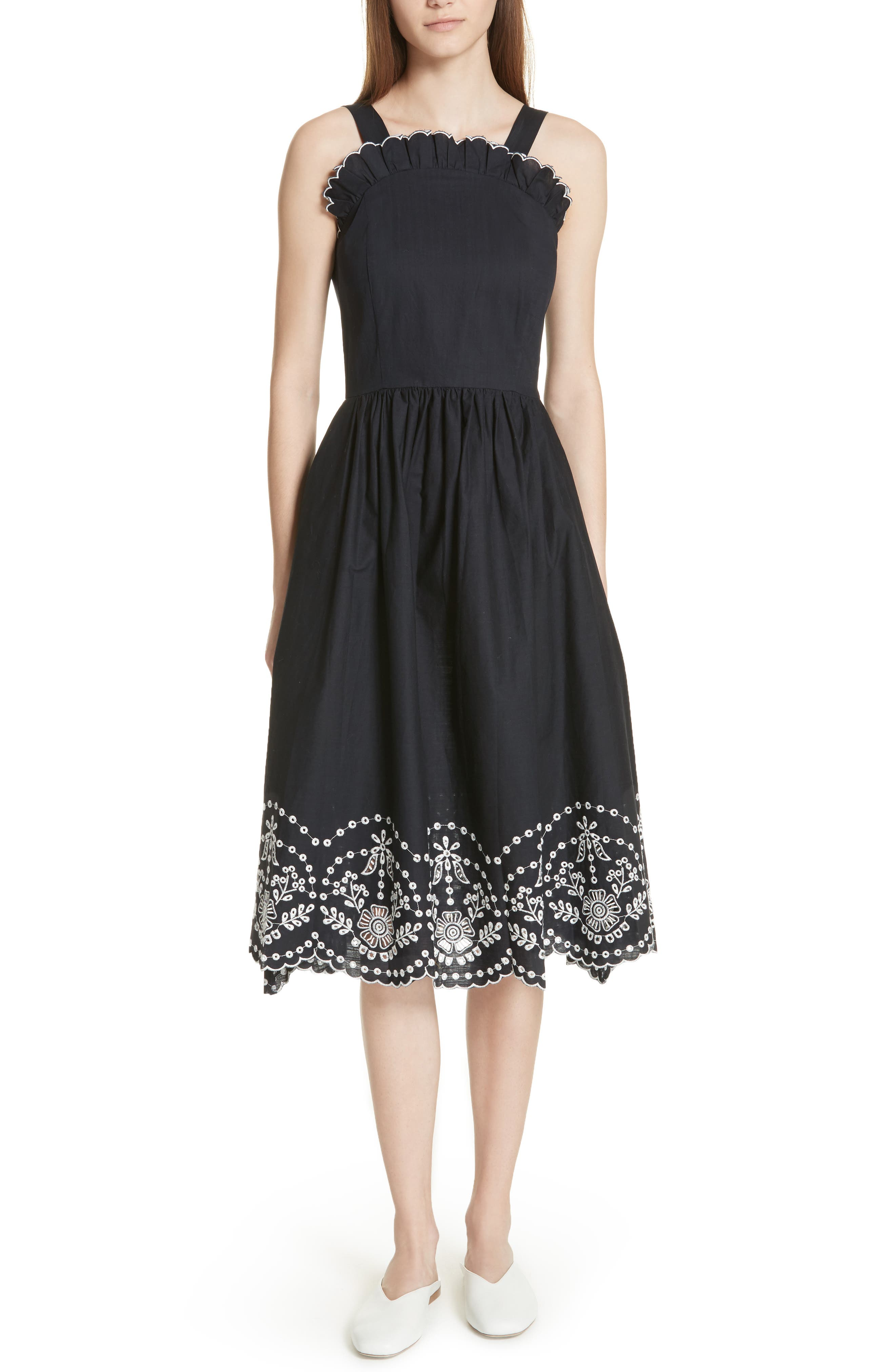 Alouette Eyelet Hem Dress,                             Main thumbnail 1, color,                             Navy