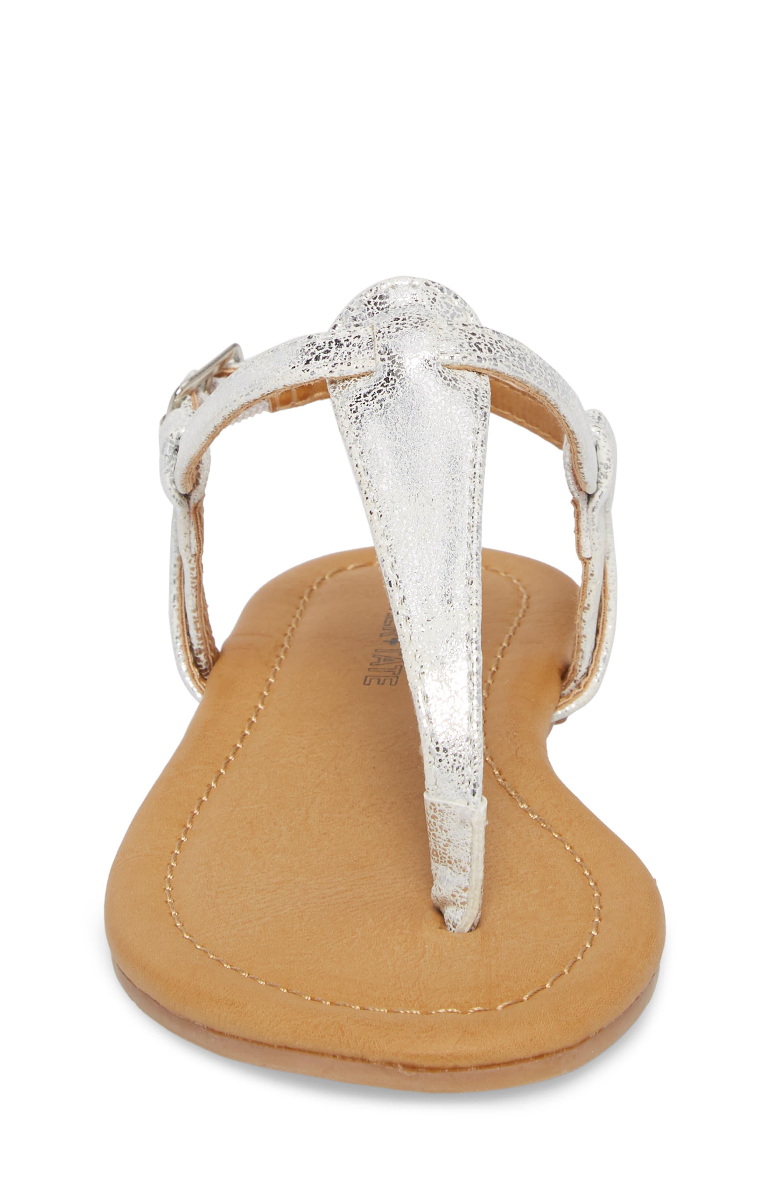 Lizzie Sandal,                             Alternate thumbnail 4, color,                             White/ Silver Faux Leather