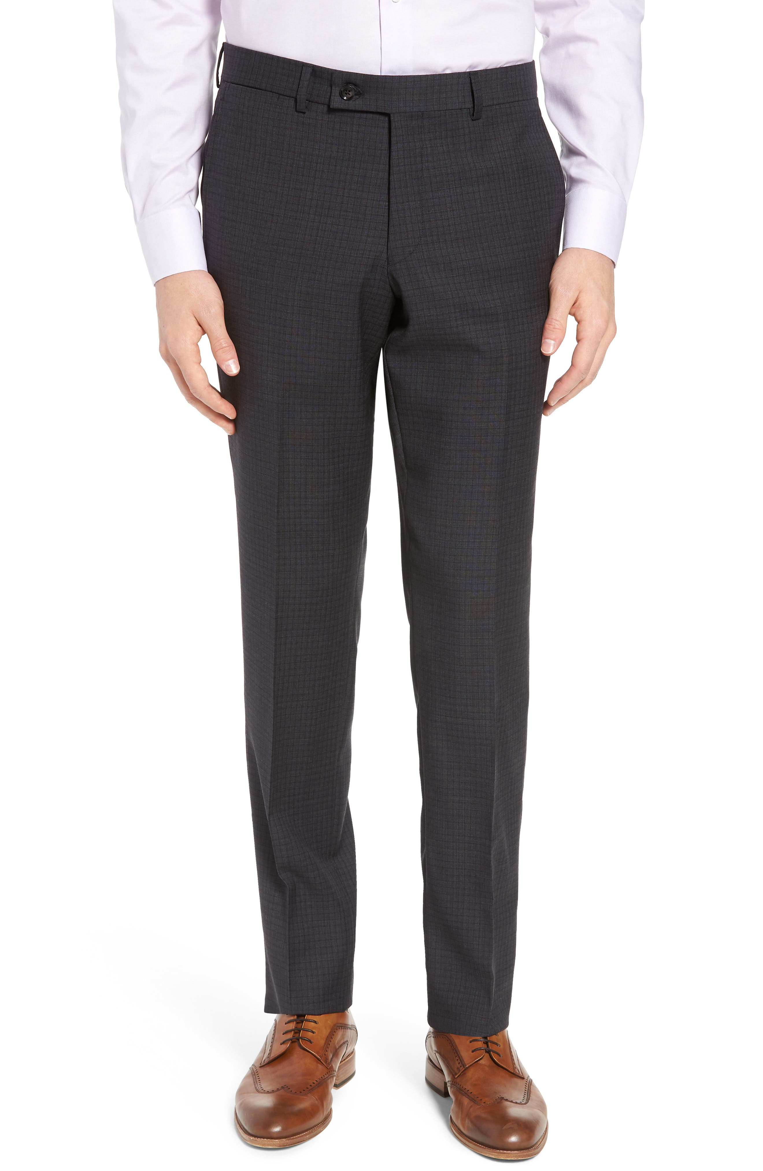 Jay Trim Fit Check Wool Suit,                             Alternate thumbnail 6, color,                             Charcoal