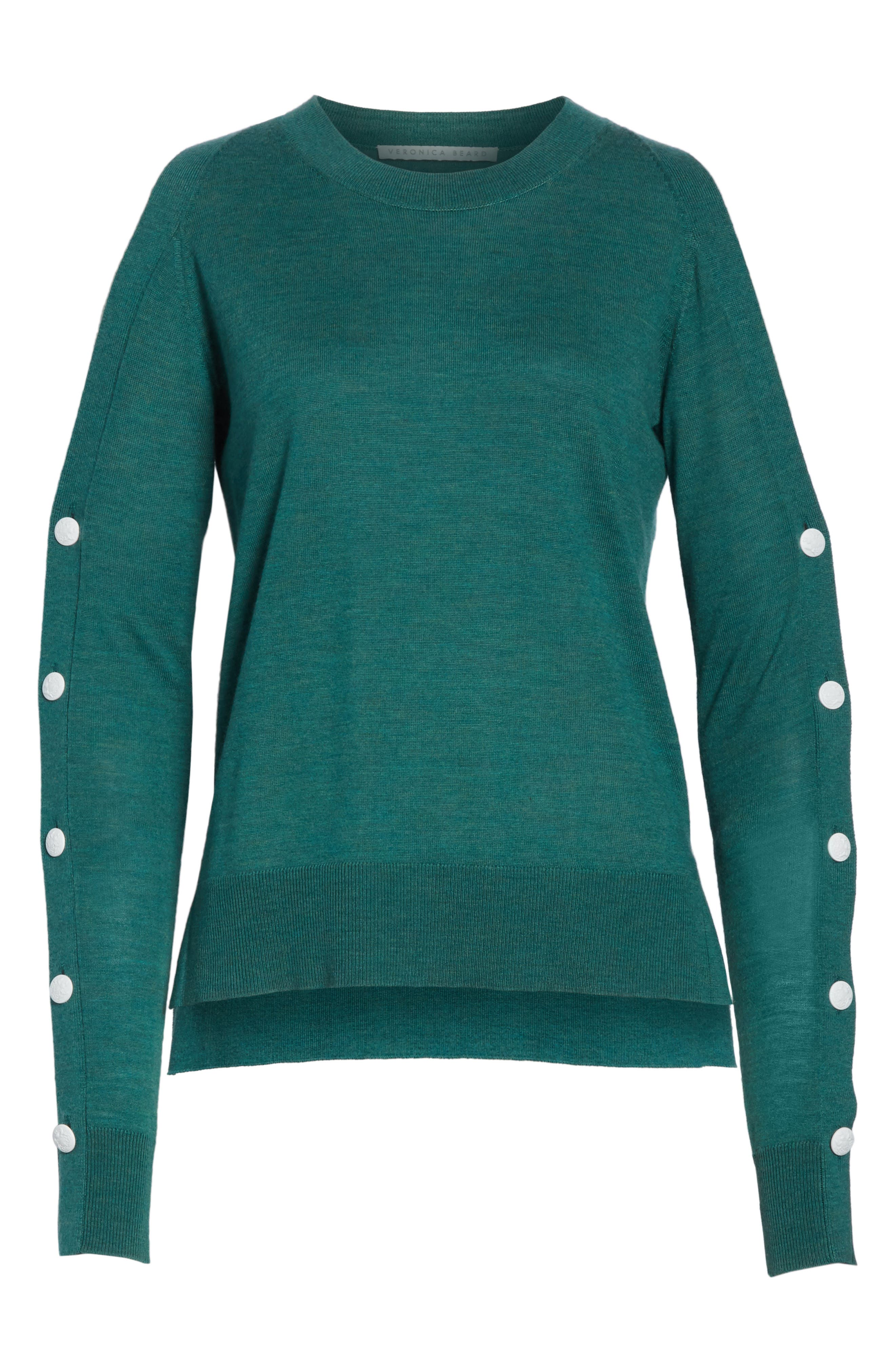 Veda Button Sleeve Cold Shoulder Wool Sweater,                             Alternate thumbnail 6, color,                             Green