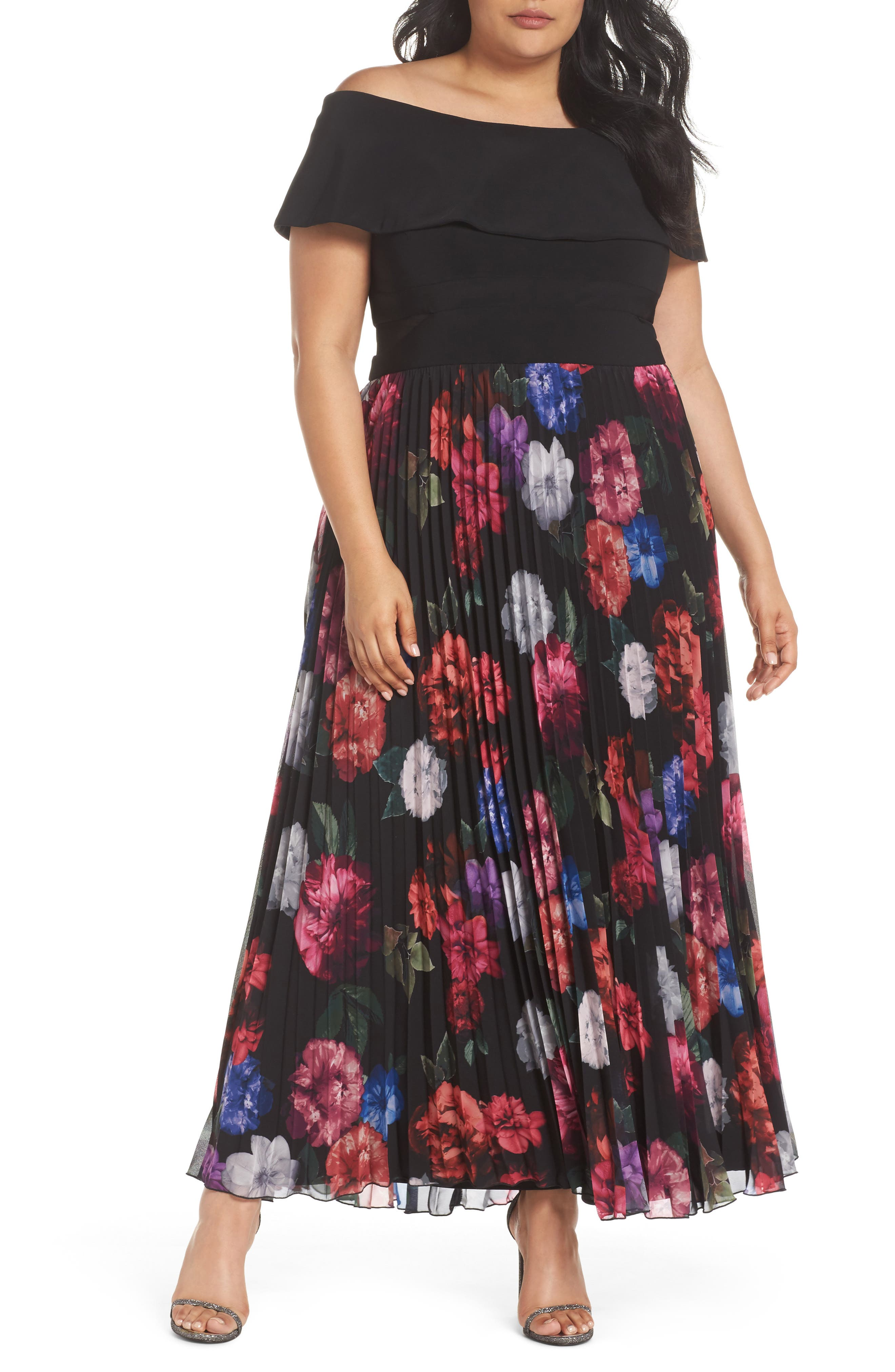 Pleated Floral Off the Shoulder Gown,                             Main thumbnail 1, color,                             Black/ Purple