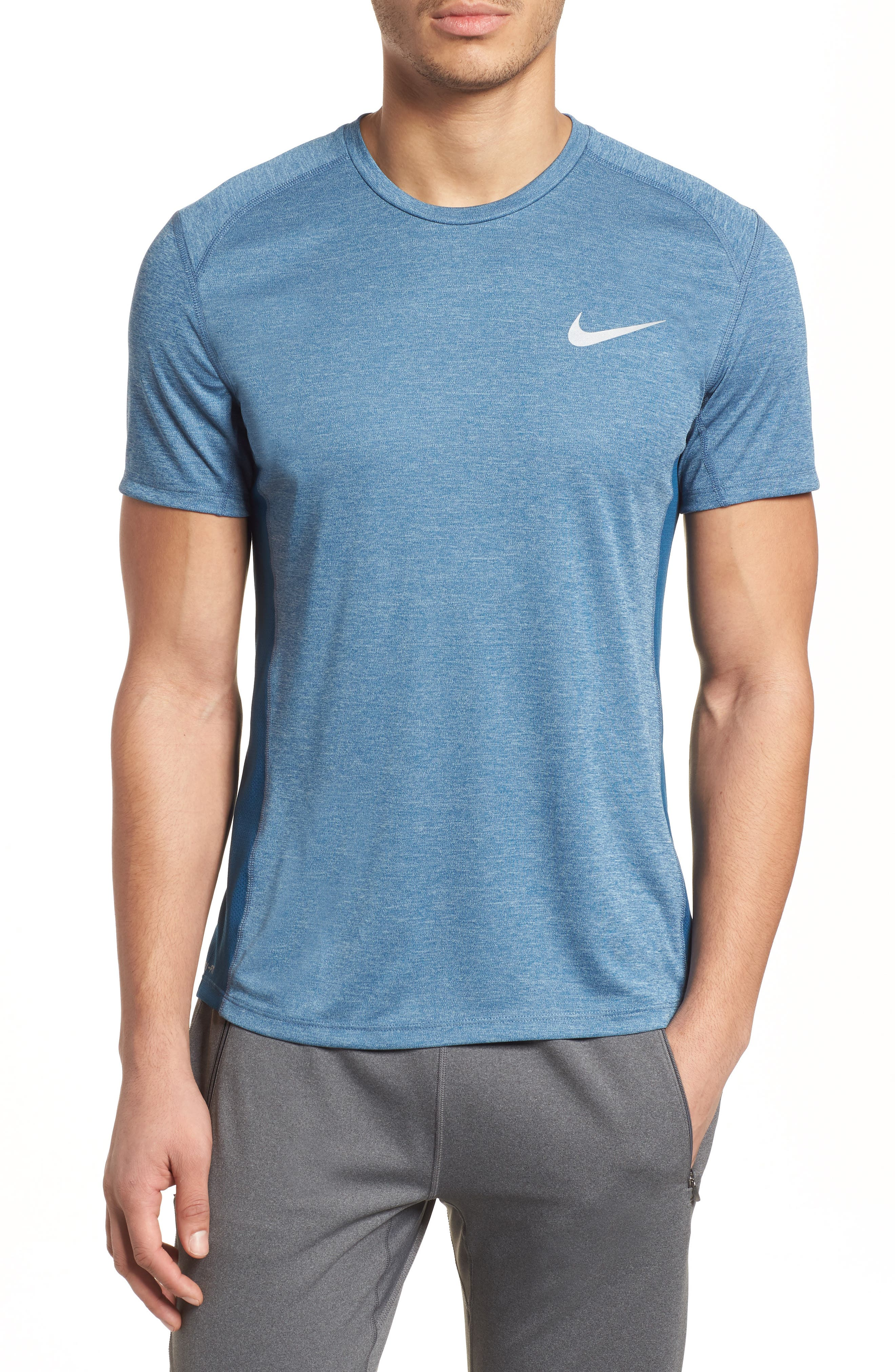 Dry Miler Running Top,                         Main,                         color, Blue Force/ Heather