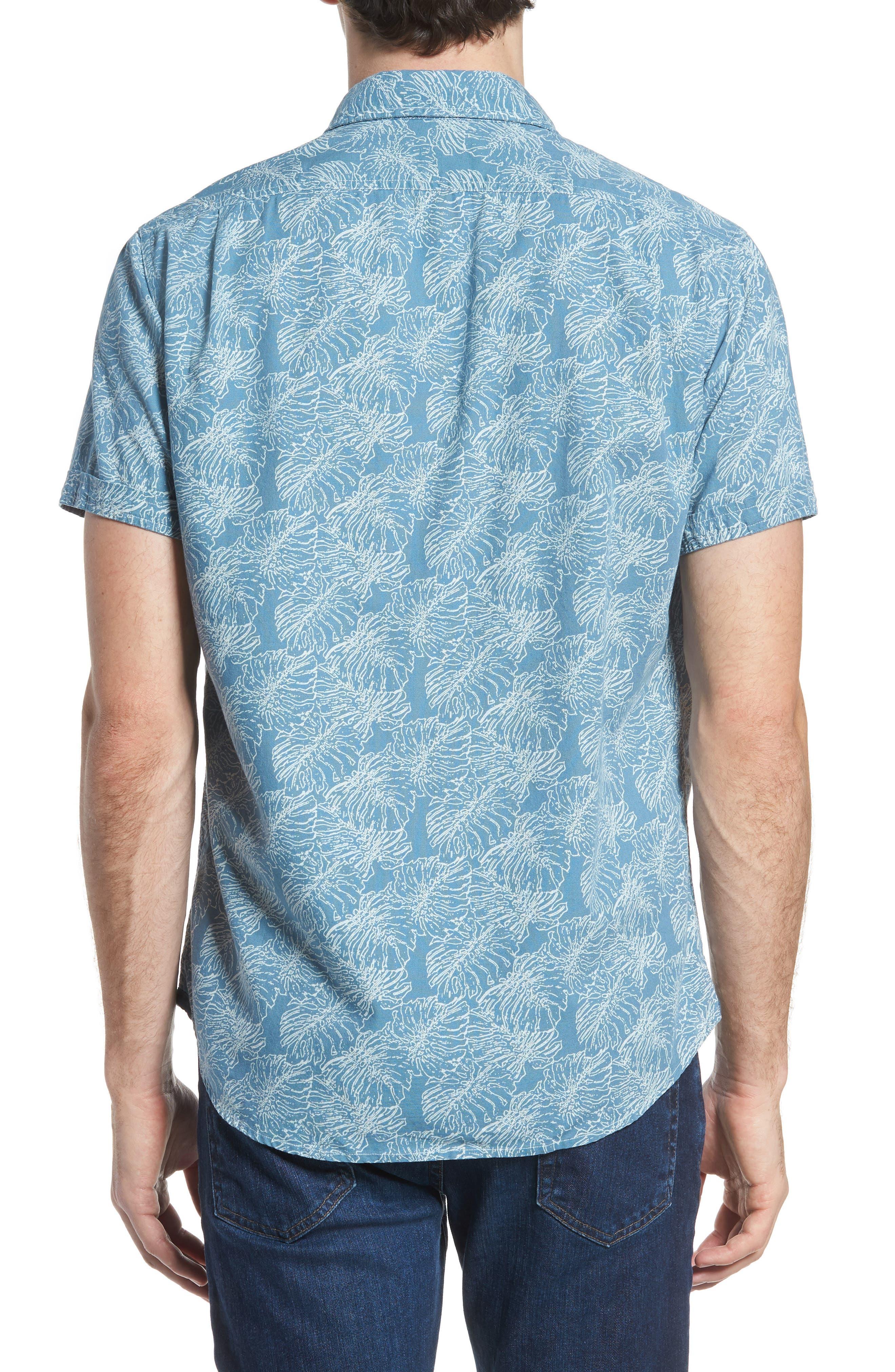 Leaf Print Short Sleeve Sport Shirt,                             Alternate thumbnail 3, color,                             Moonnight Blue