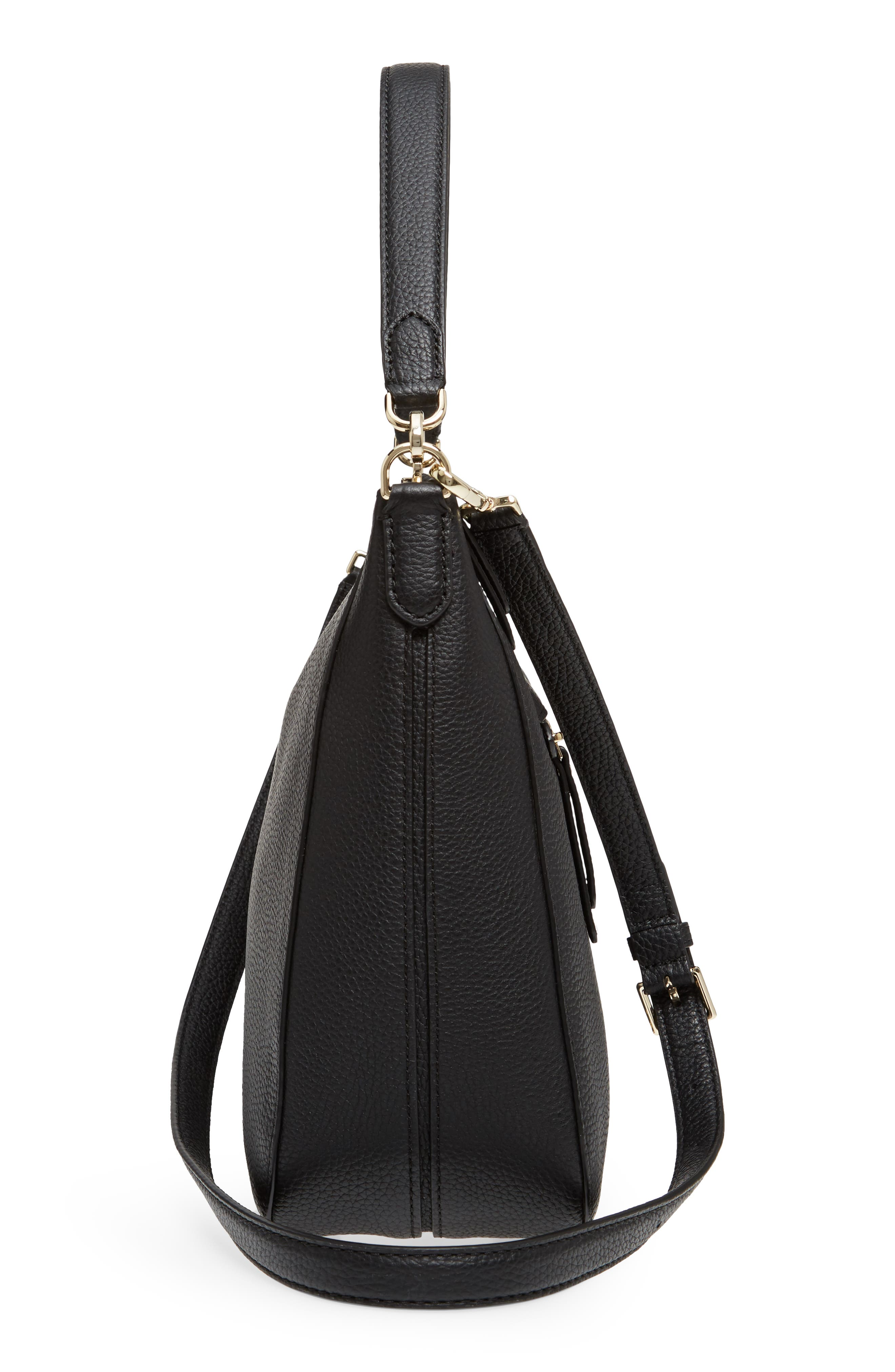 trent hill - quincy leather hobo,                             Alternate thumbnail 5, color,                             Black