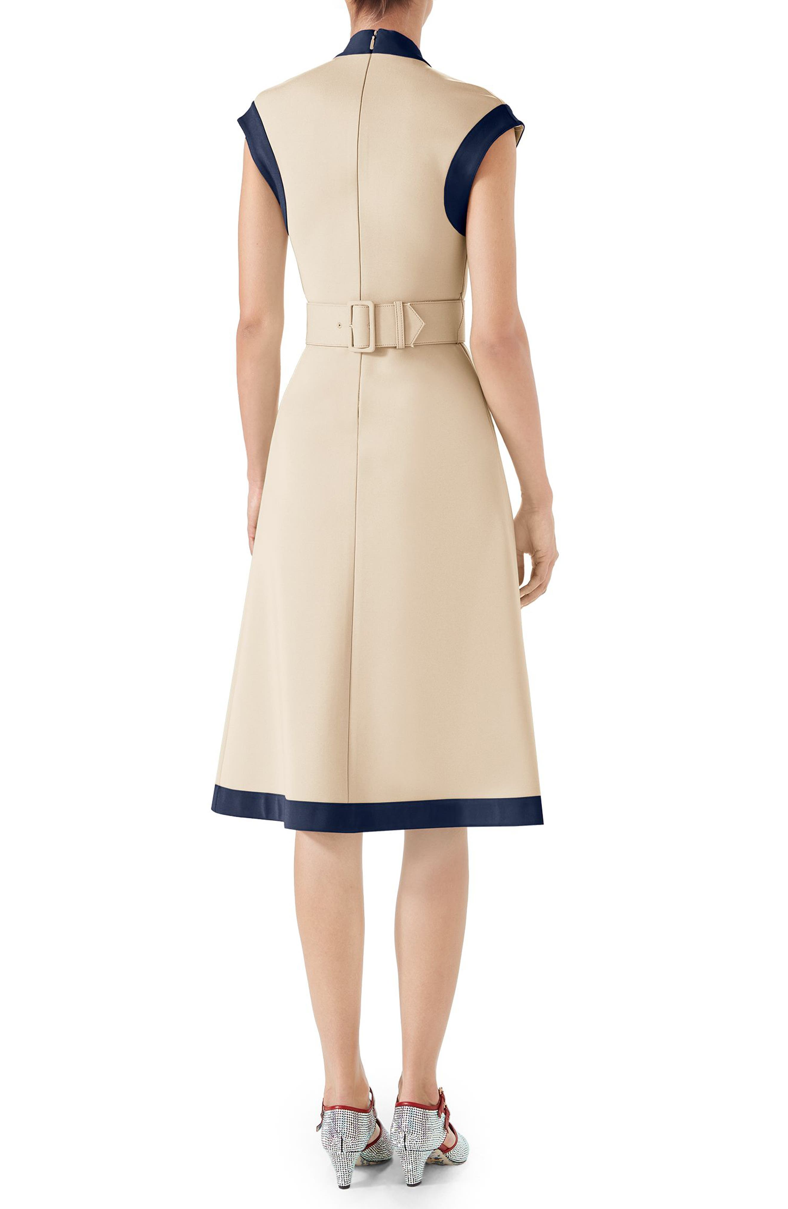 Contrast Trim Belted Dress,                             Alternate thumbnail 2, color,                             Almond Flower/ Royal