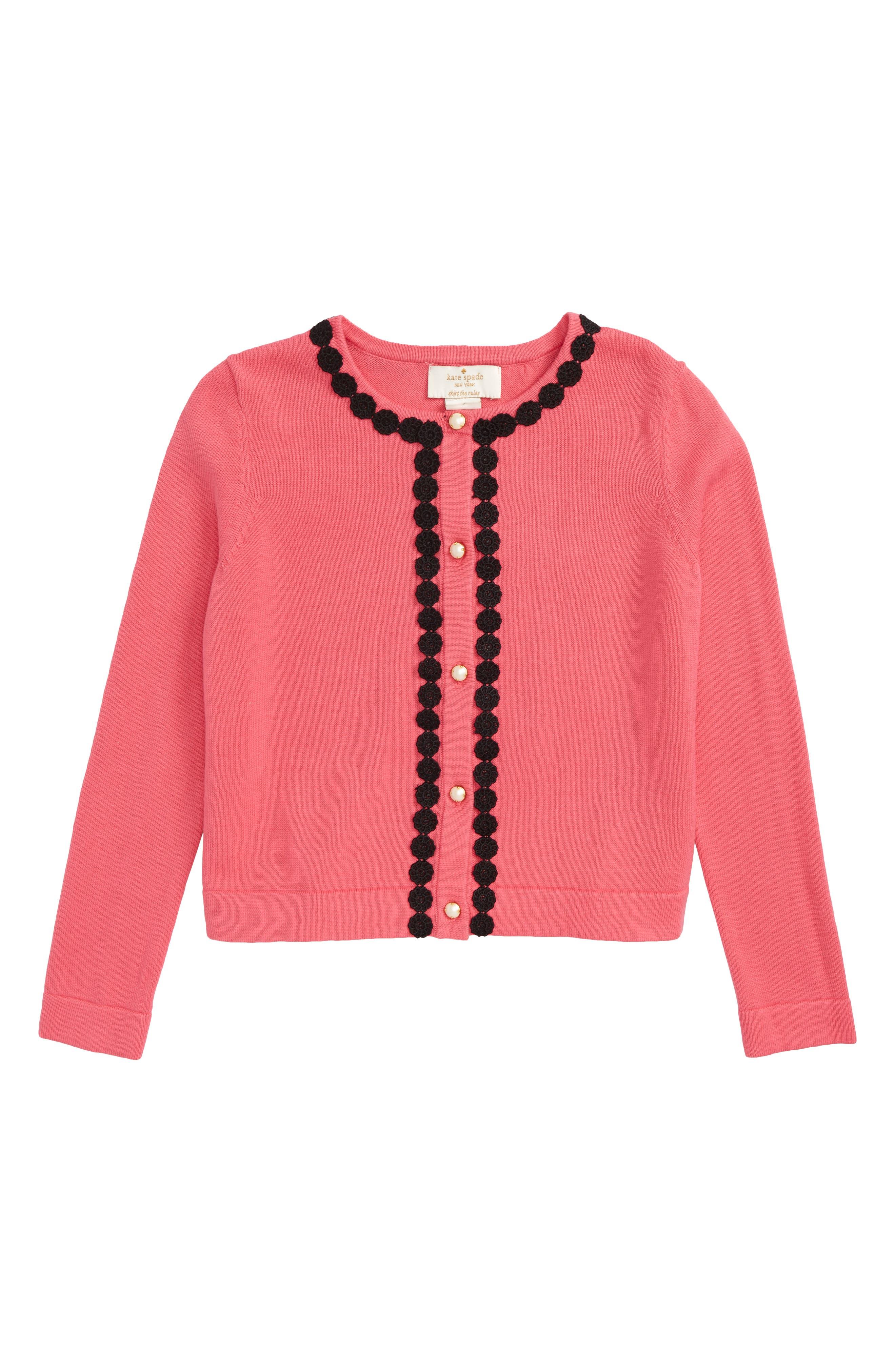 lace trim cardigan,                             Main thumbnail 1, color,                             Petunia