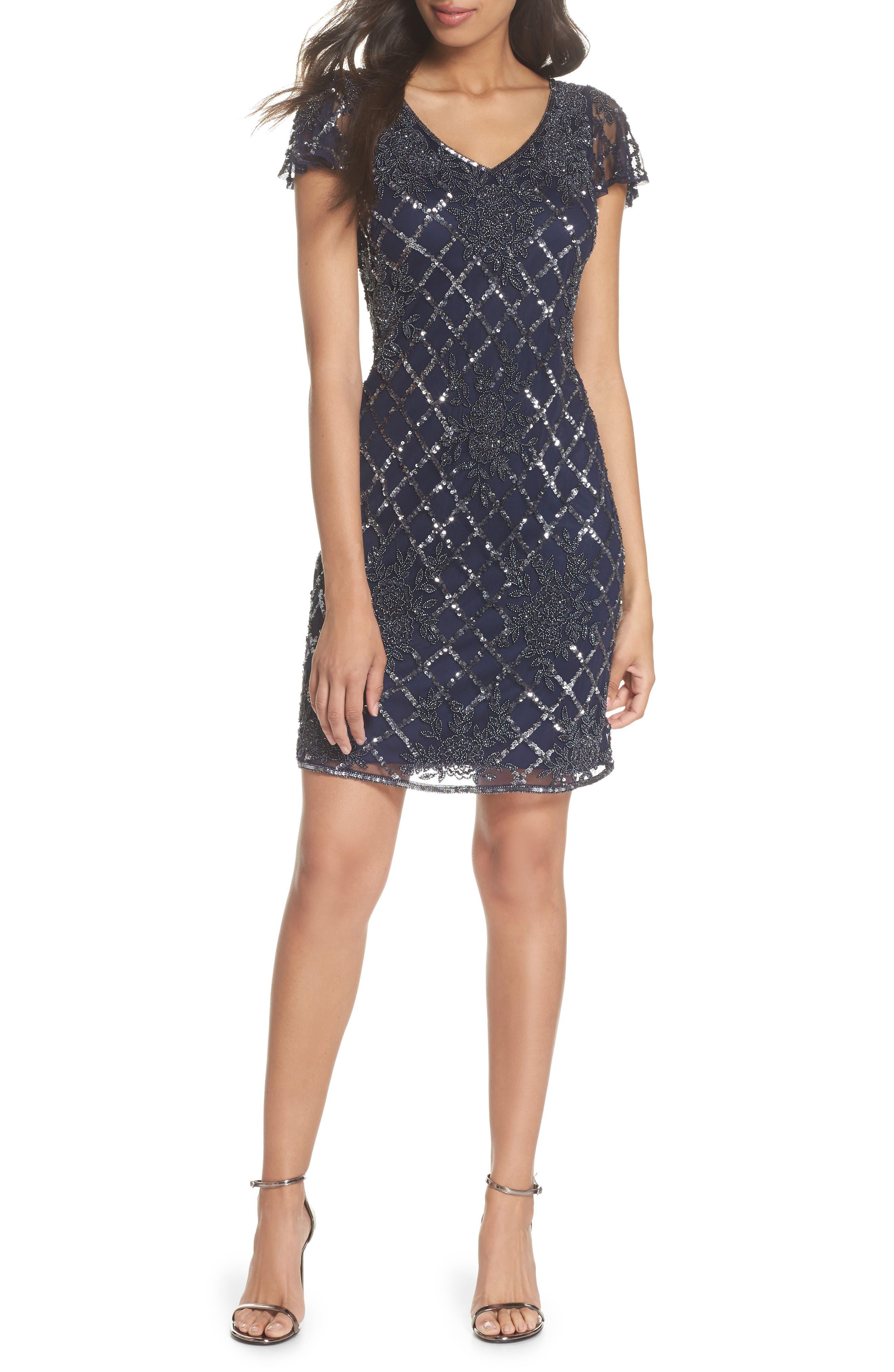 Beaded Sheath Dress,                             Main thumbnail 1, color,                             Navy