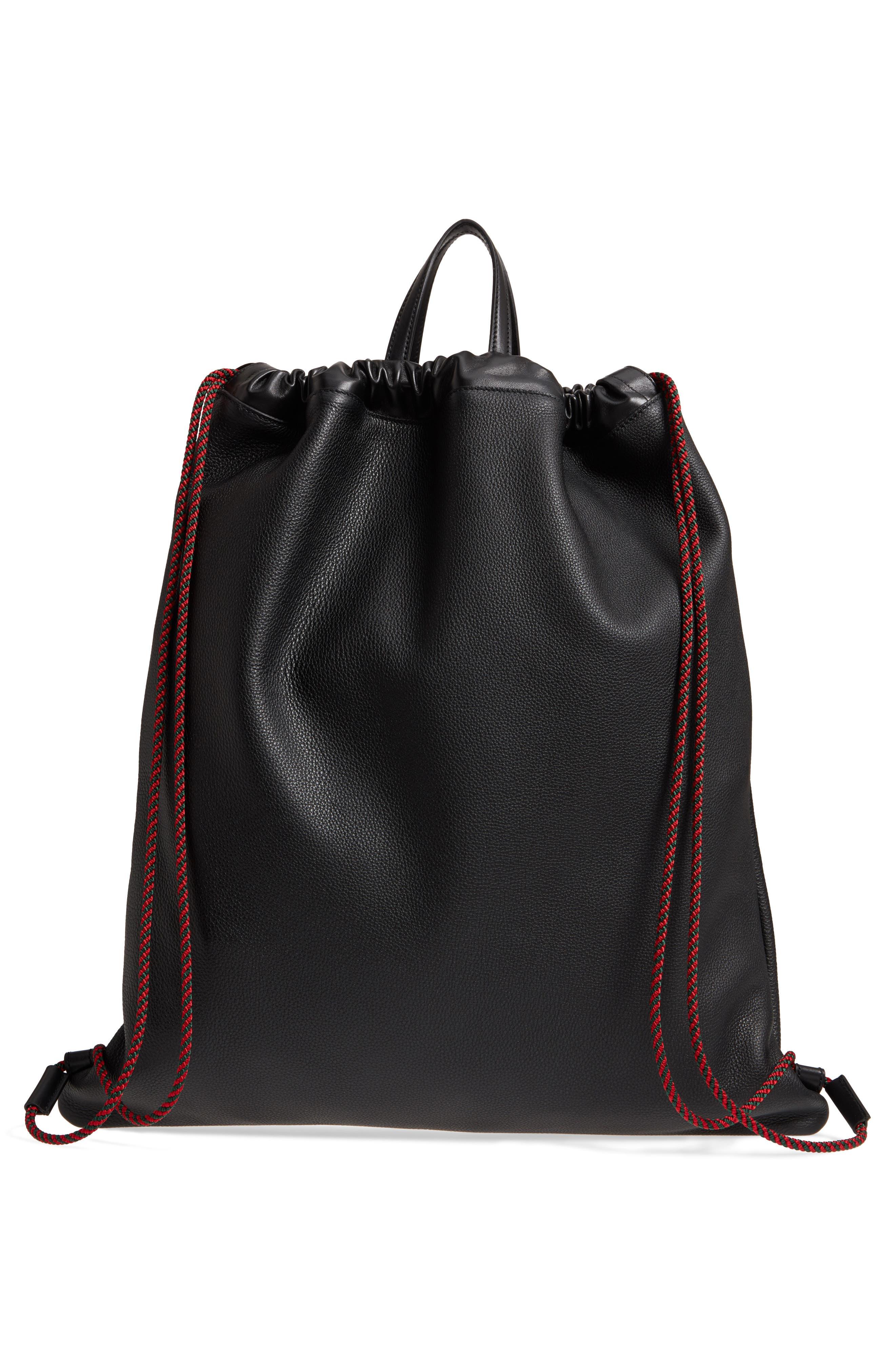 Logo Leather Drawstring Backpack,                             Alternate thumbnail 3, color,                             Black