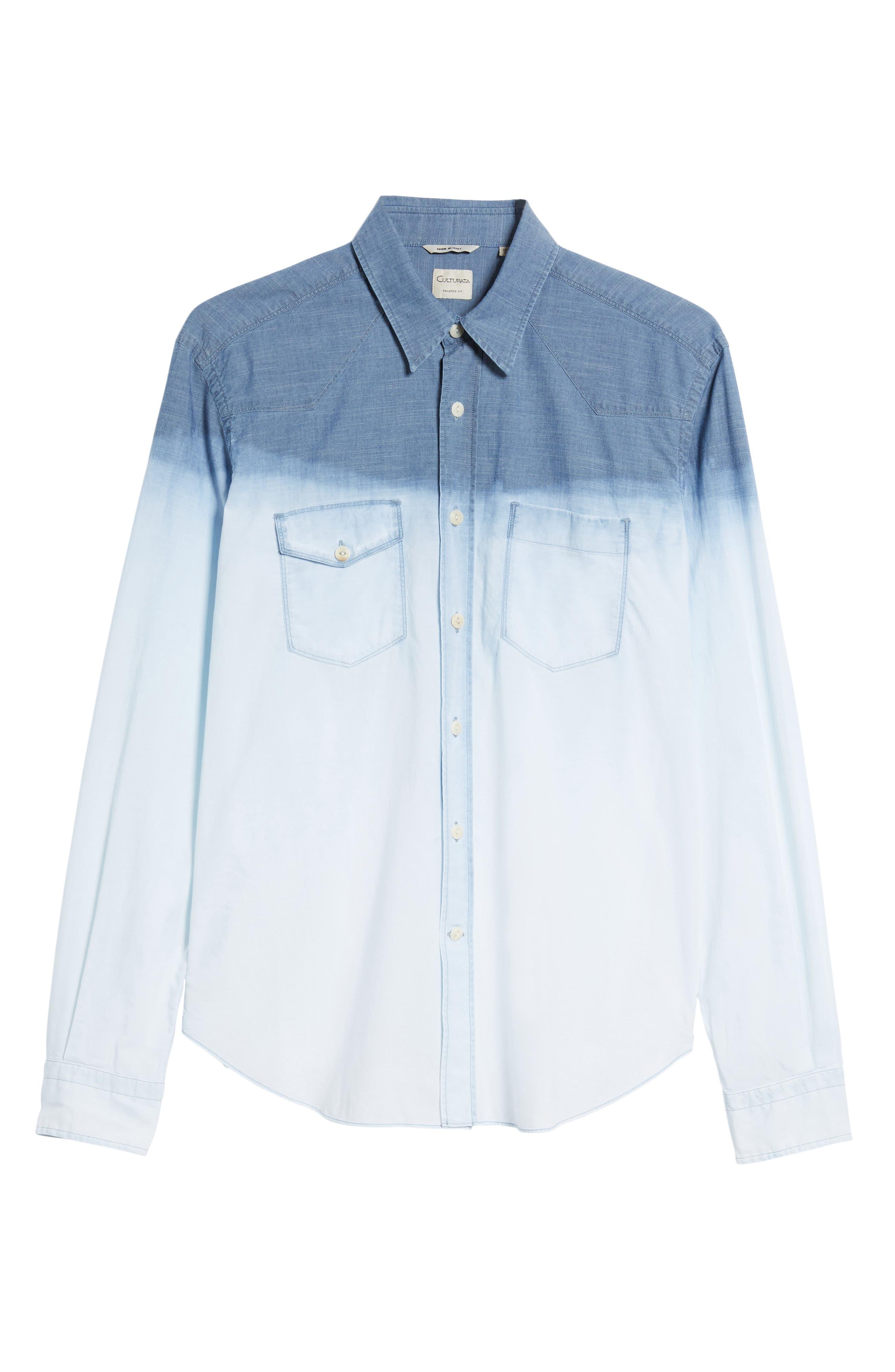 Tailored Fit Dégradé Sport Shirt,                             Alternate thumbnail 6, color,                             Blue