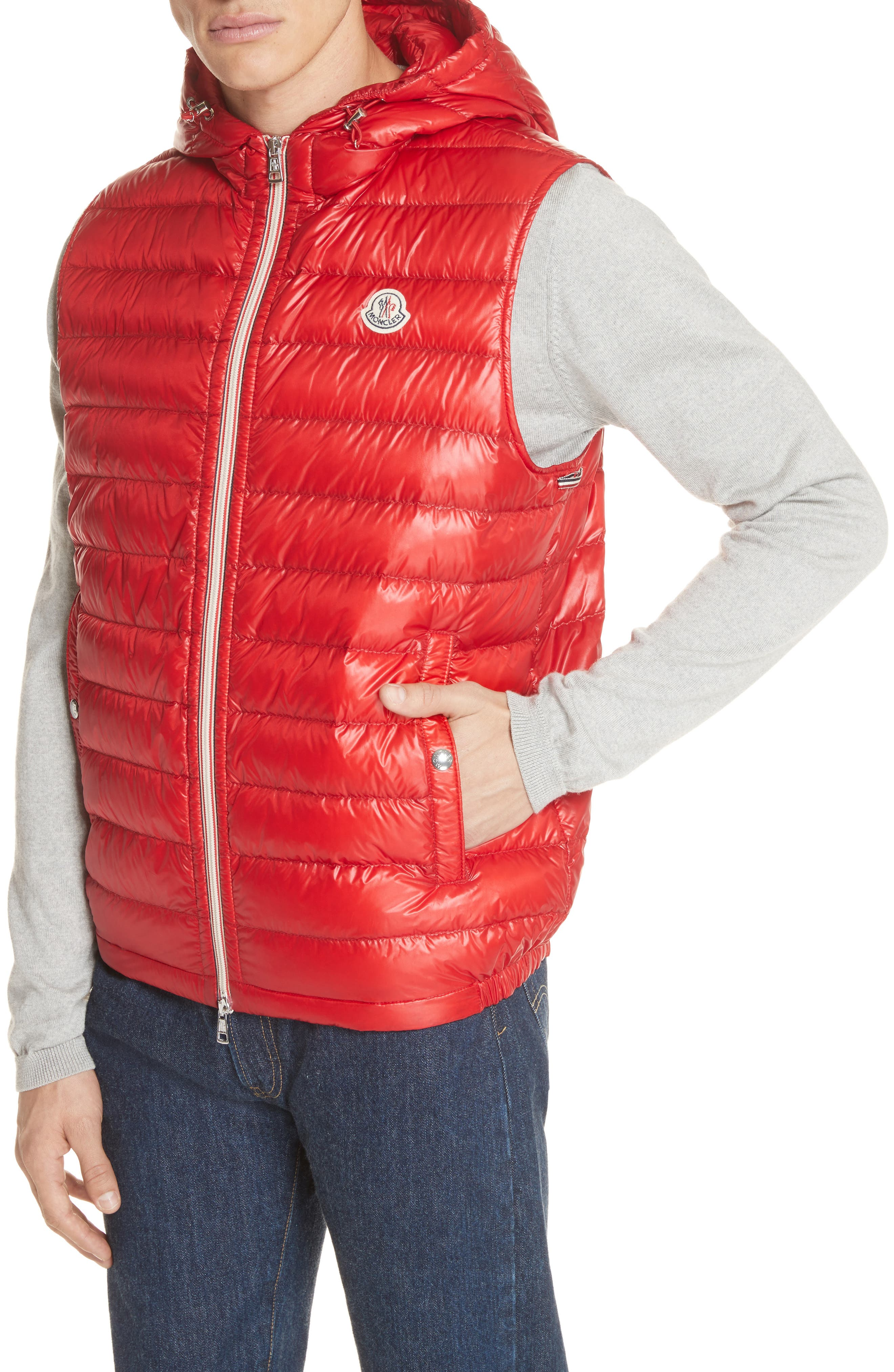 Gien Down Hooded Vest,                             Alternate thumbnail 4, color,                             Dark Red