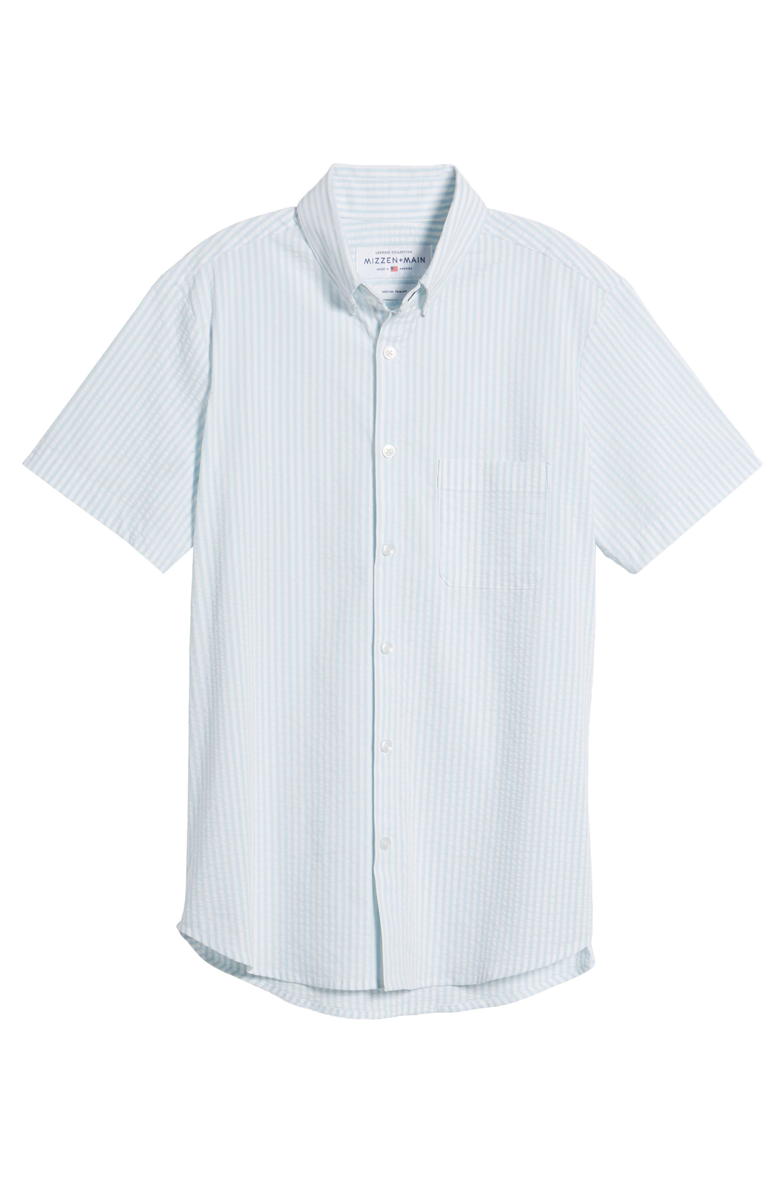 Hartley Seersucker Stripe Performance Sport Shirt,                             Alternate thumbnail 6, color,                             Blue