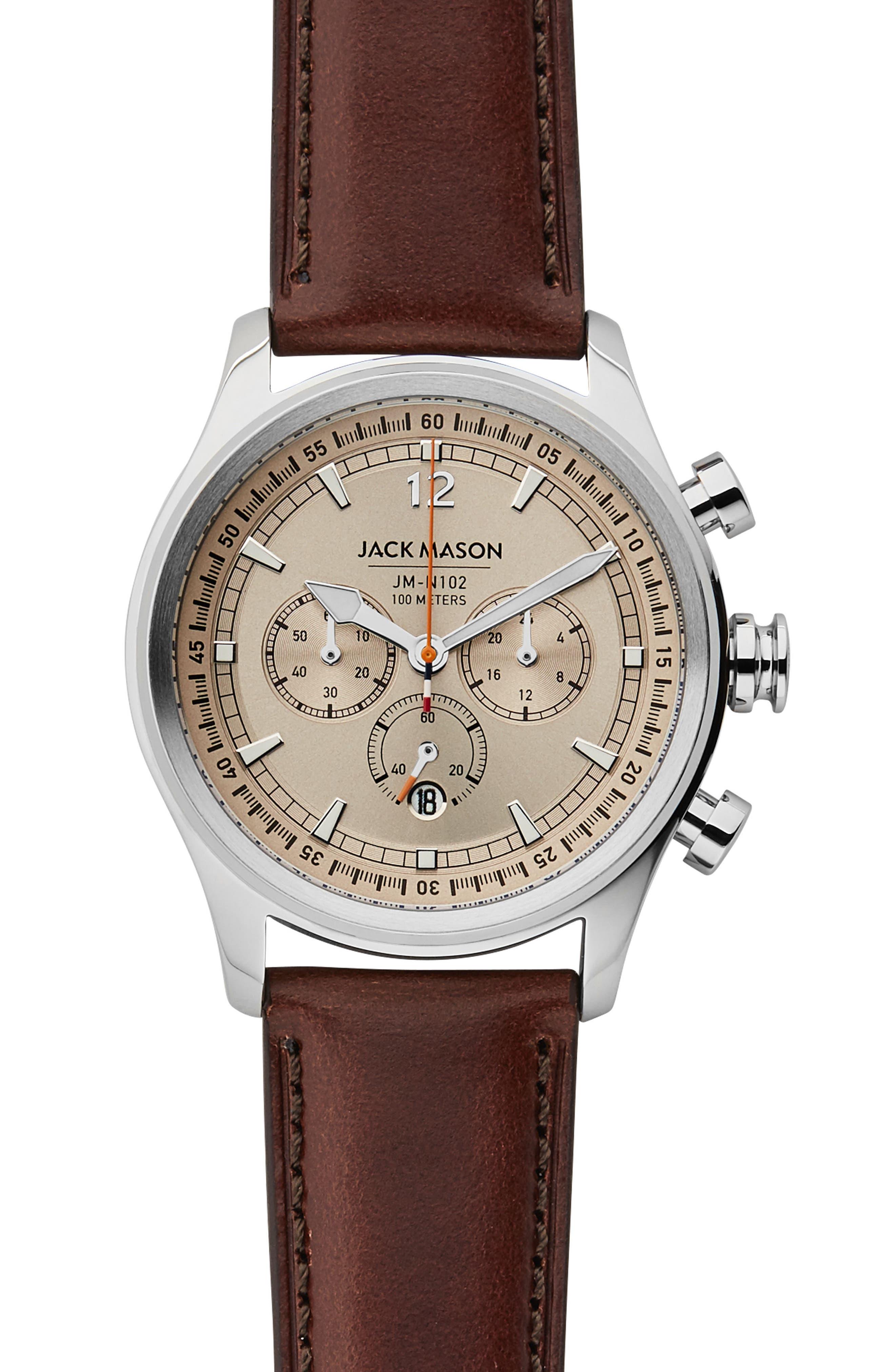 Nautical Chronograph Leather Strap Watch, 42mm,                             Main thumbnail 1, color,                             Khaki/ Brown