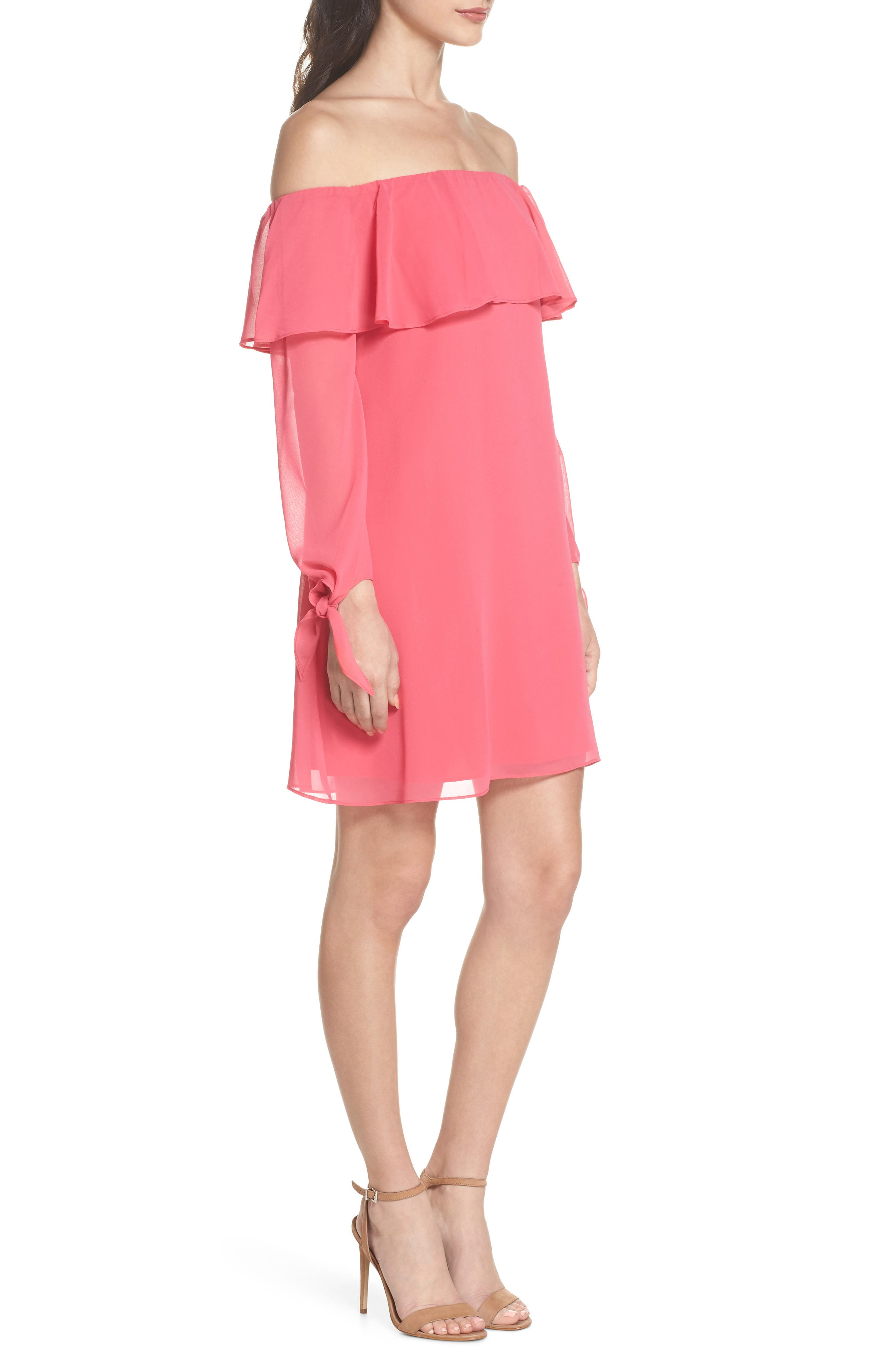 Off the Shoulder Tie-Cuff Shift Dress,                             Alternate thumbnail 3, color,                             Hot Pink