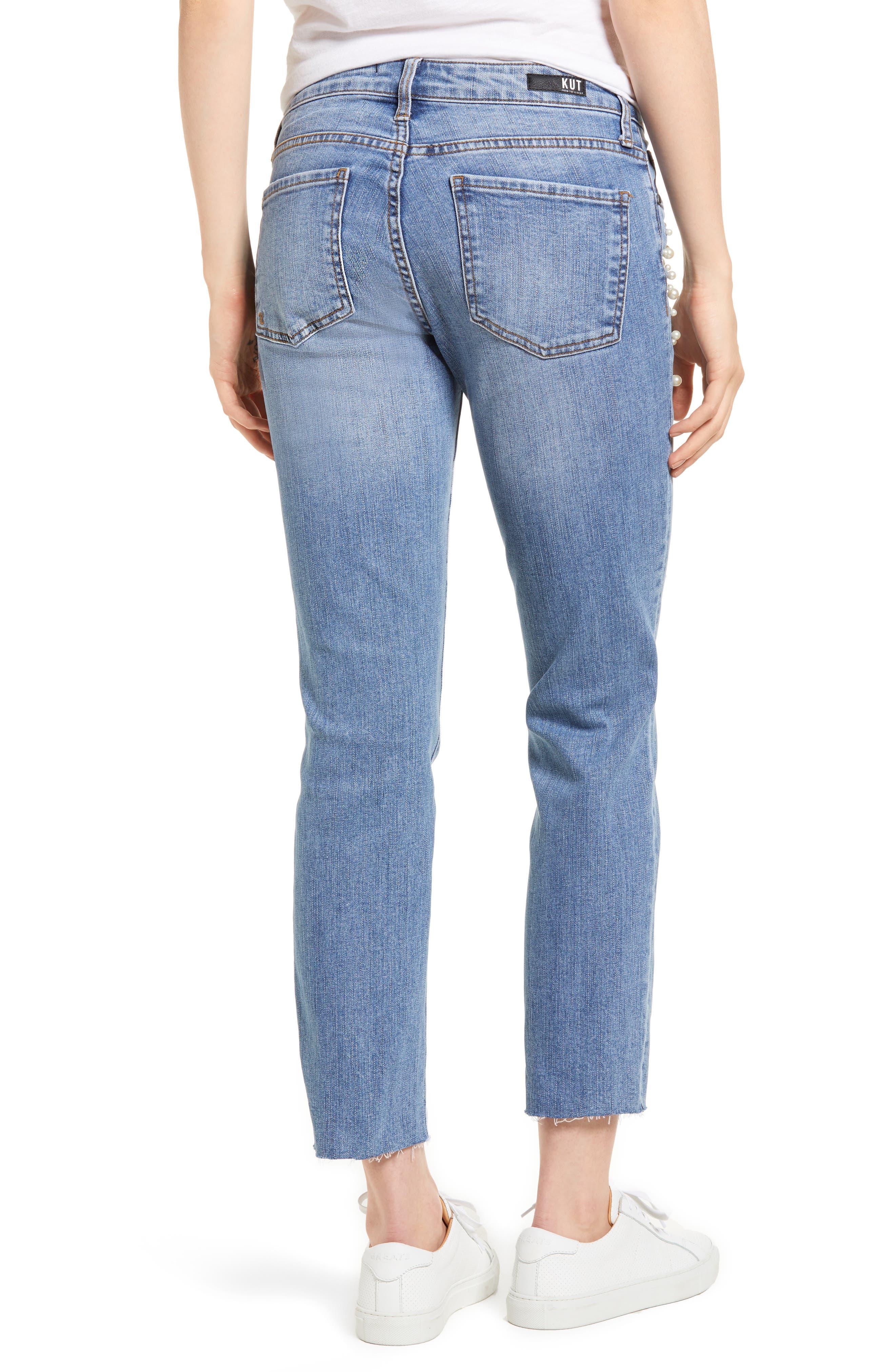 Reese Pearl Detail Raw Edge Jeans,                             Alternate thumbnail 2, color,                             Assess W/ Medium Base Wash
