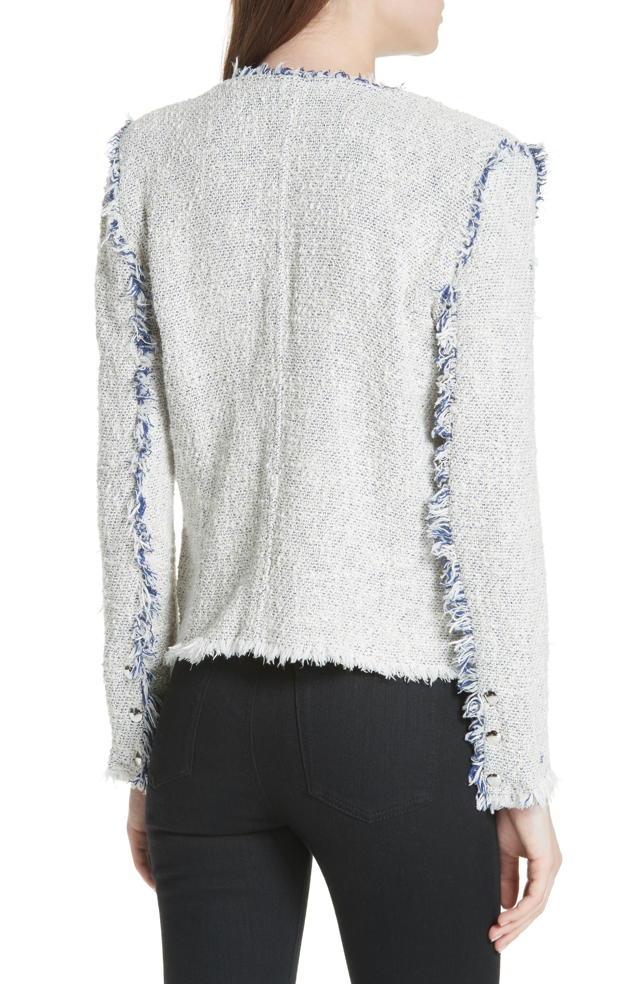 'Agnette' Tweed Jacket,                             Alternate thumbnail 2, color,                             White/ Blue