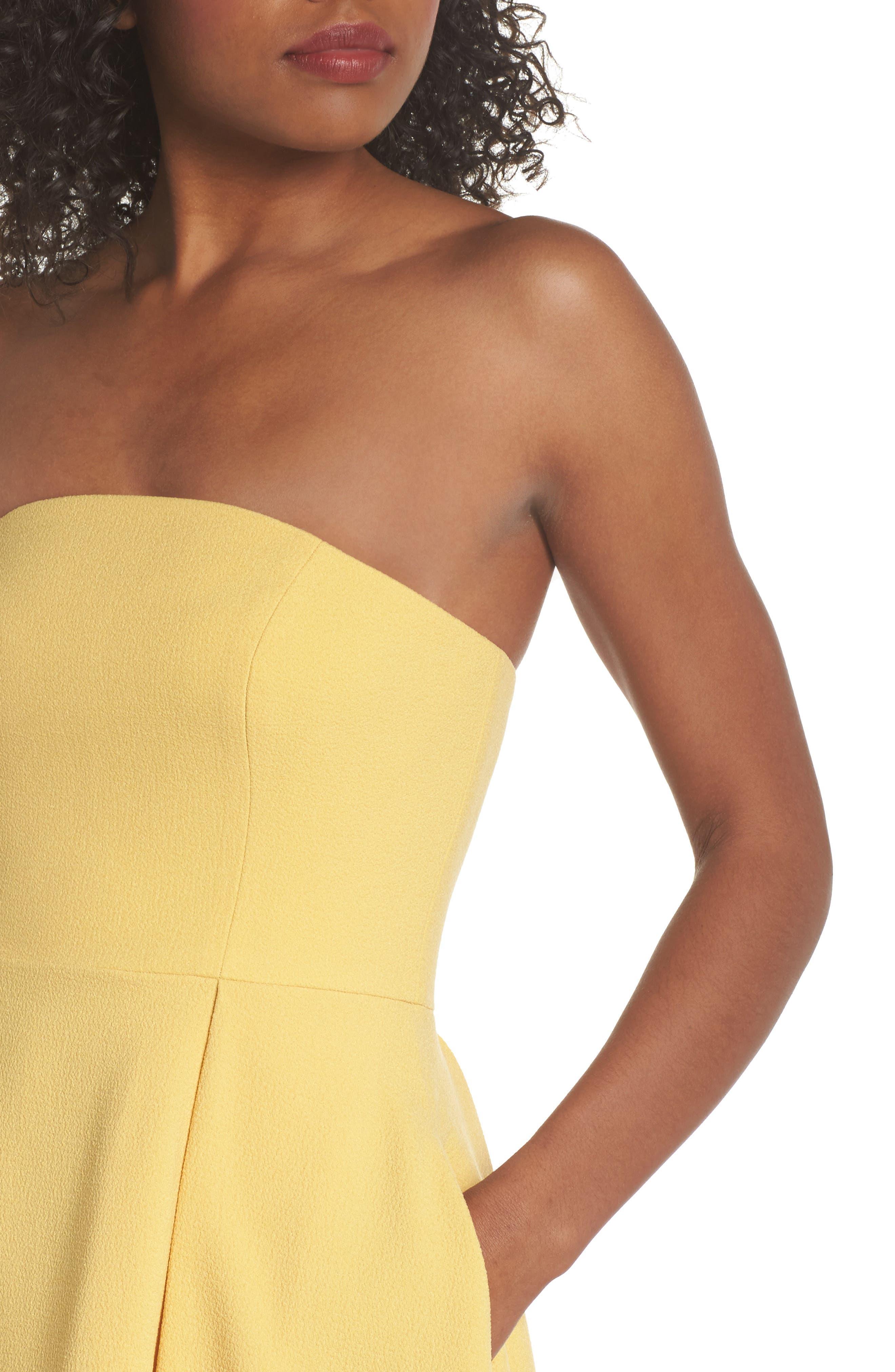 Entice Strapless Crepe Gown,                             Alternate thumbnail 4, color,                             Honey
