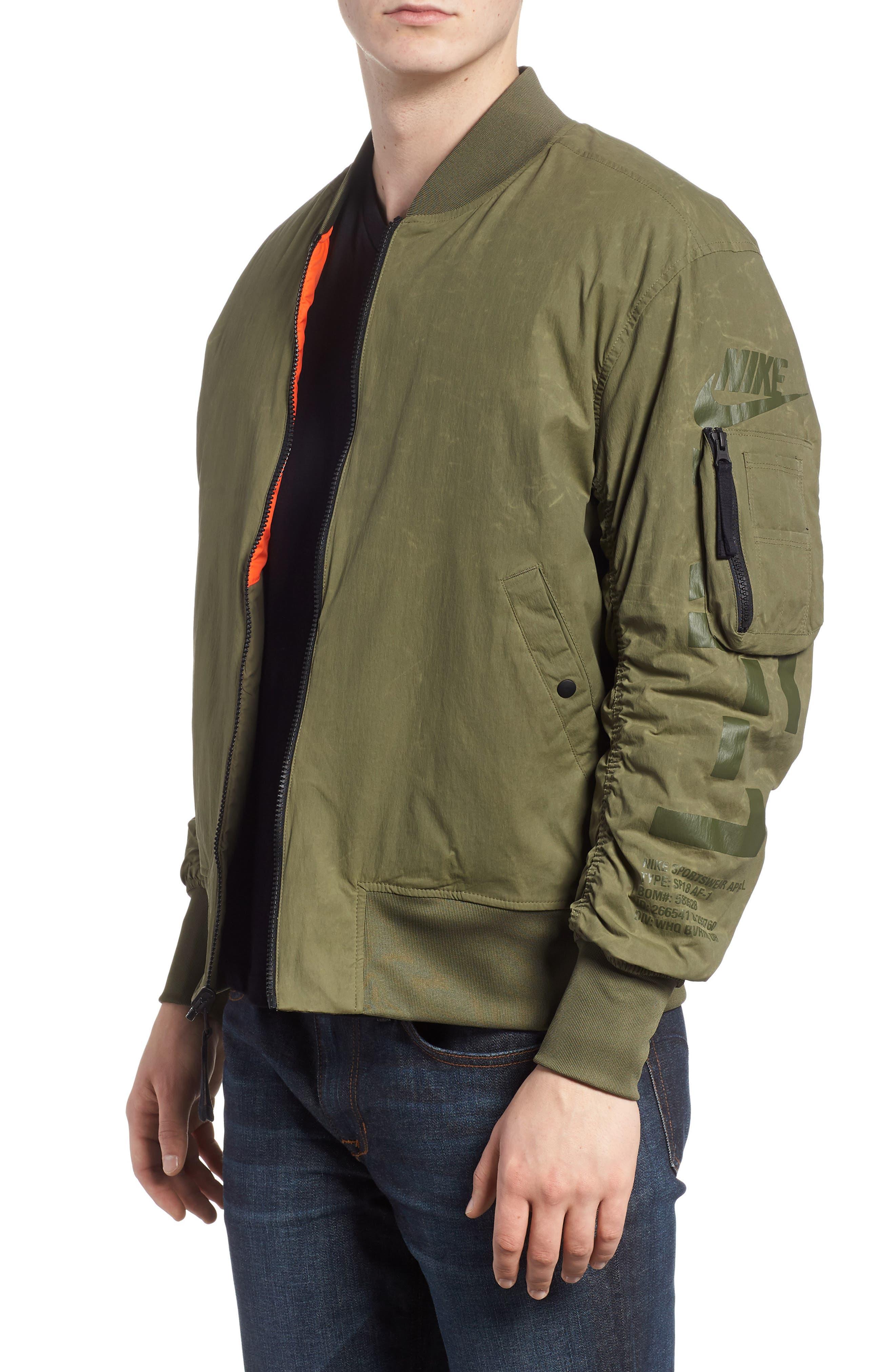 NSW Air Force 1 Jacket,                             Alternate thumbnail 5, color,                             Medium Olive/ Orange/ Olive