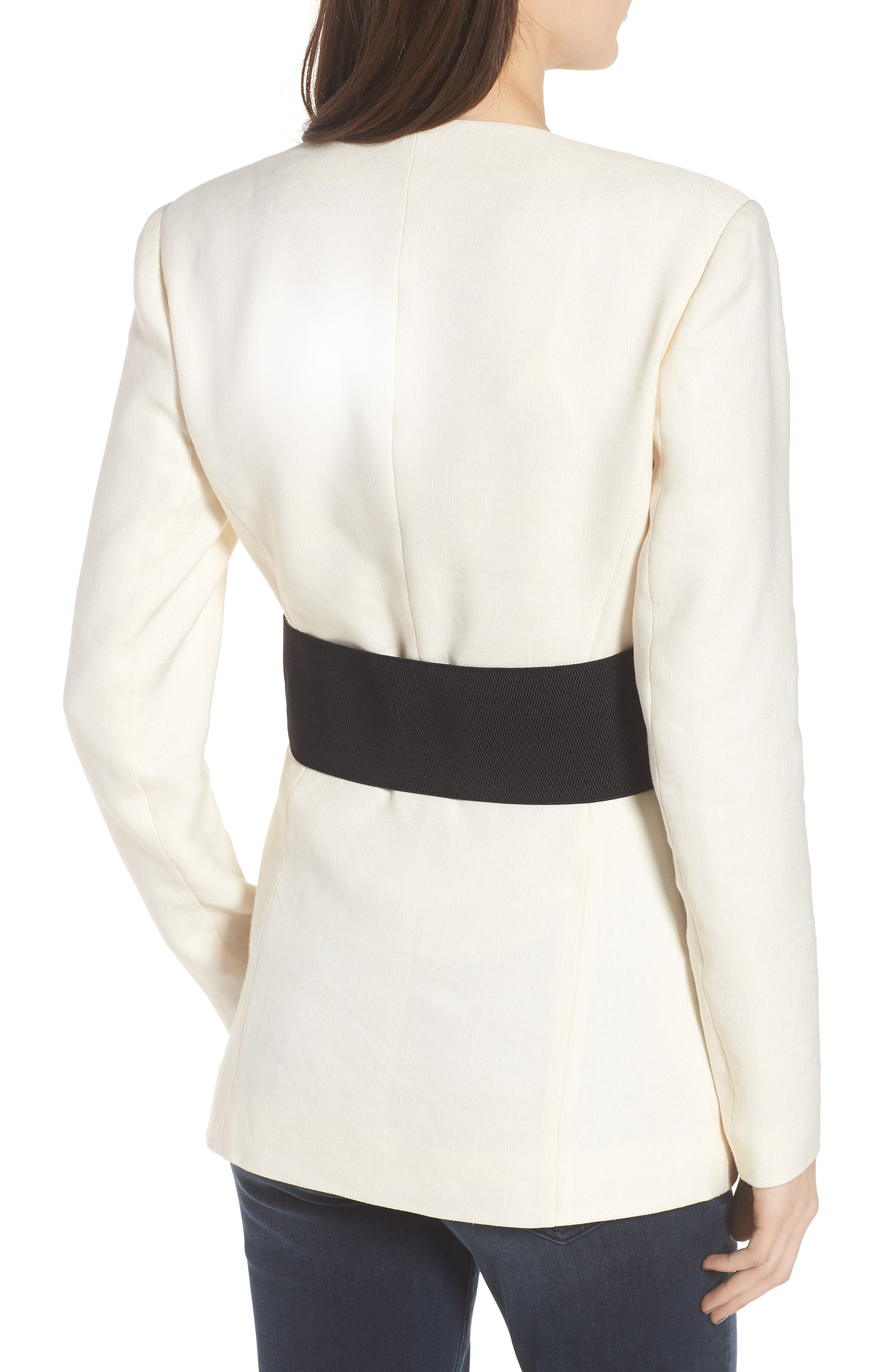 Corset Linen Blend Blazer,                             Alternate thumbnail 2, color,                             Ivory