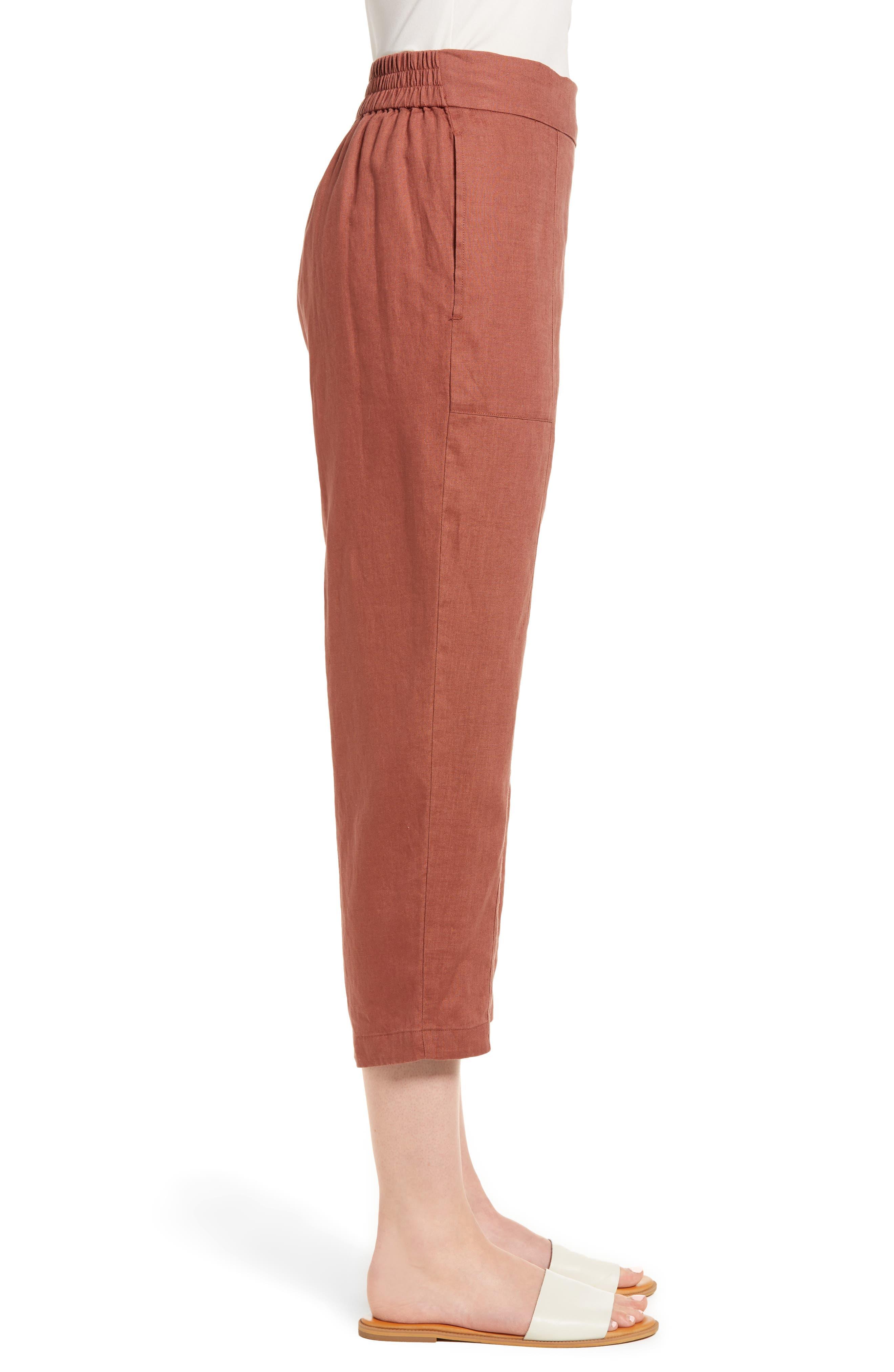 Organic Linen Crop Pants,                             Alternate thumbnail 3, color,                             Russet