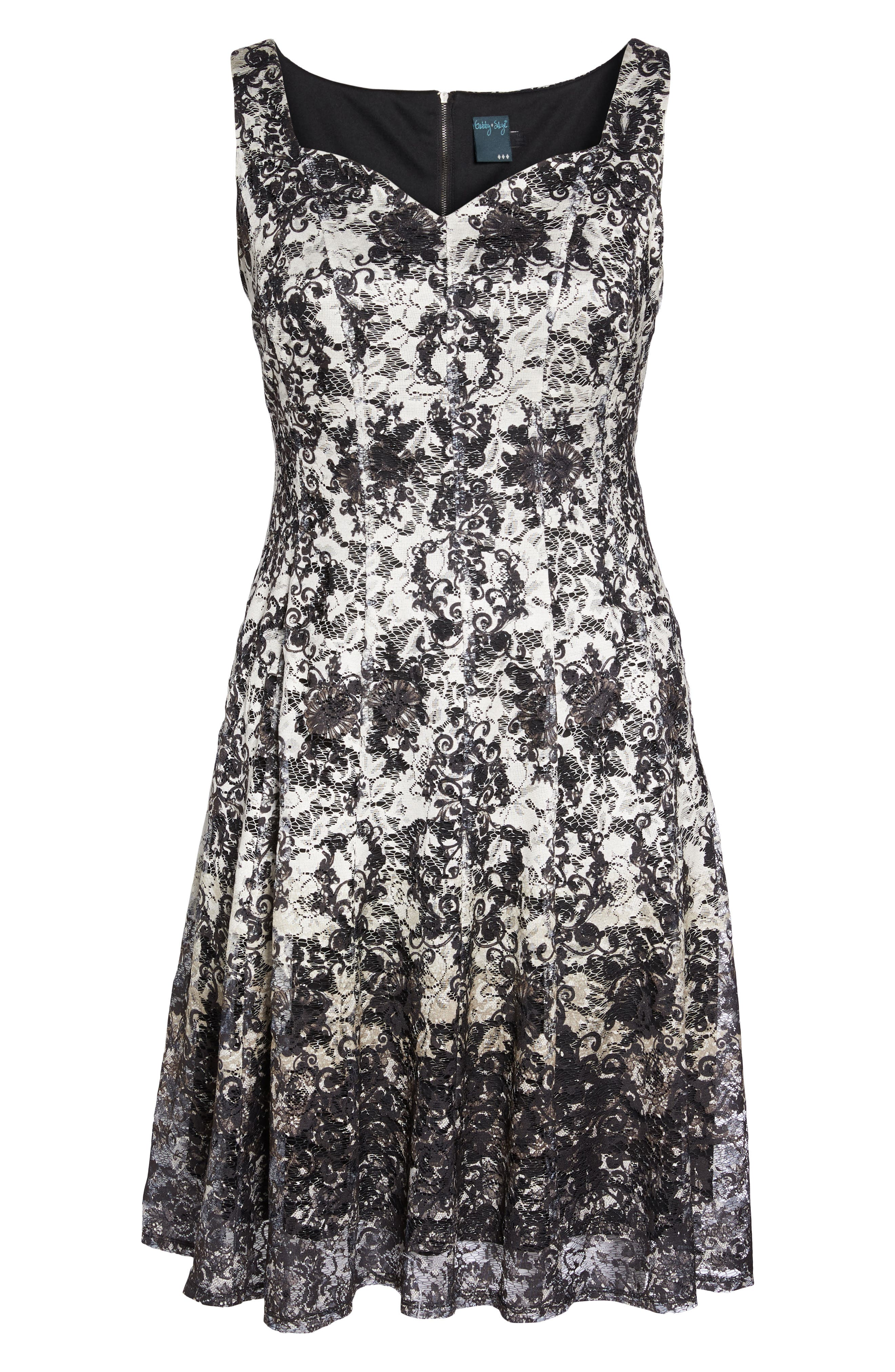 Printed Lace Fit & Flare Dress,                             Alternate thumbnail 6, color,                             Ivory/ Black