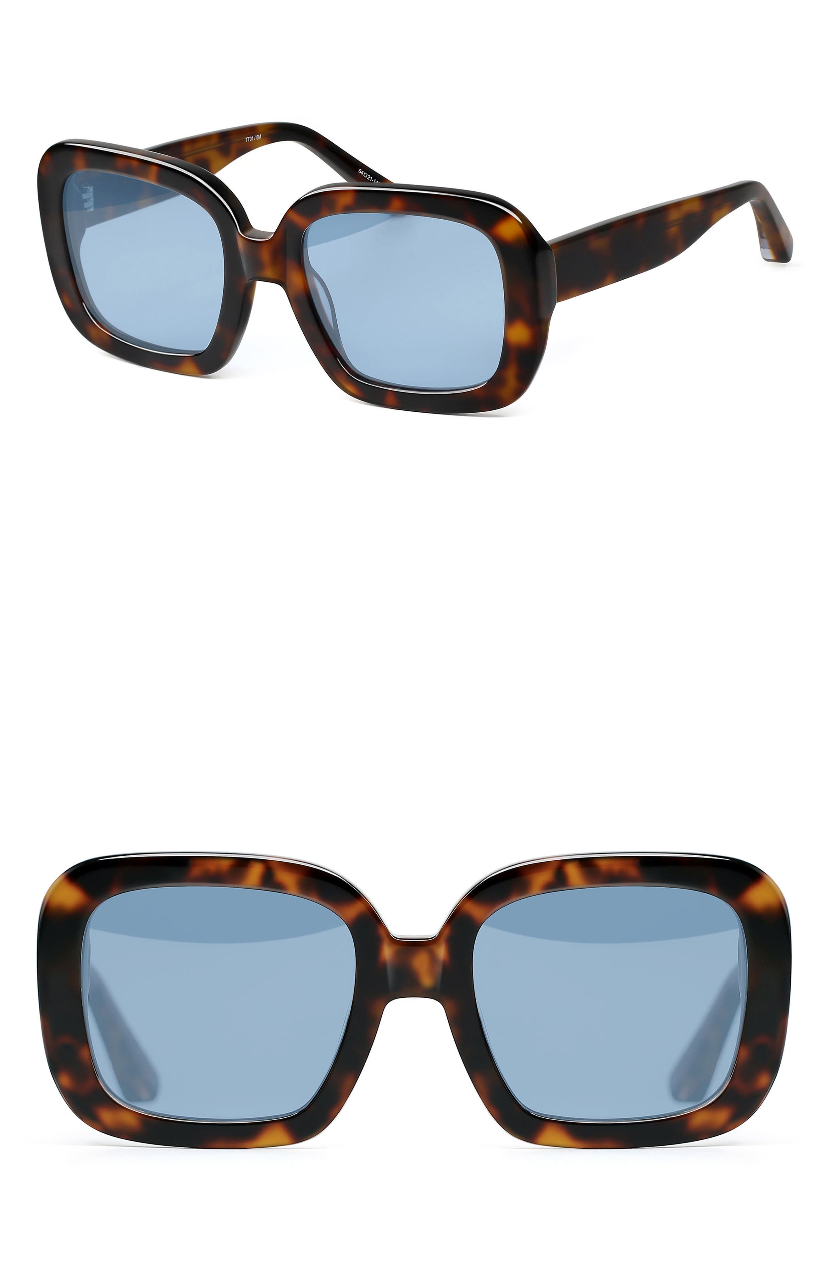 Haley 54mm Square Sunglasses,                         Main,                         color, Tortoise/ Blue