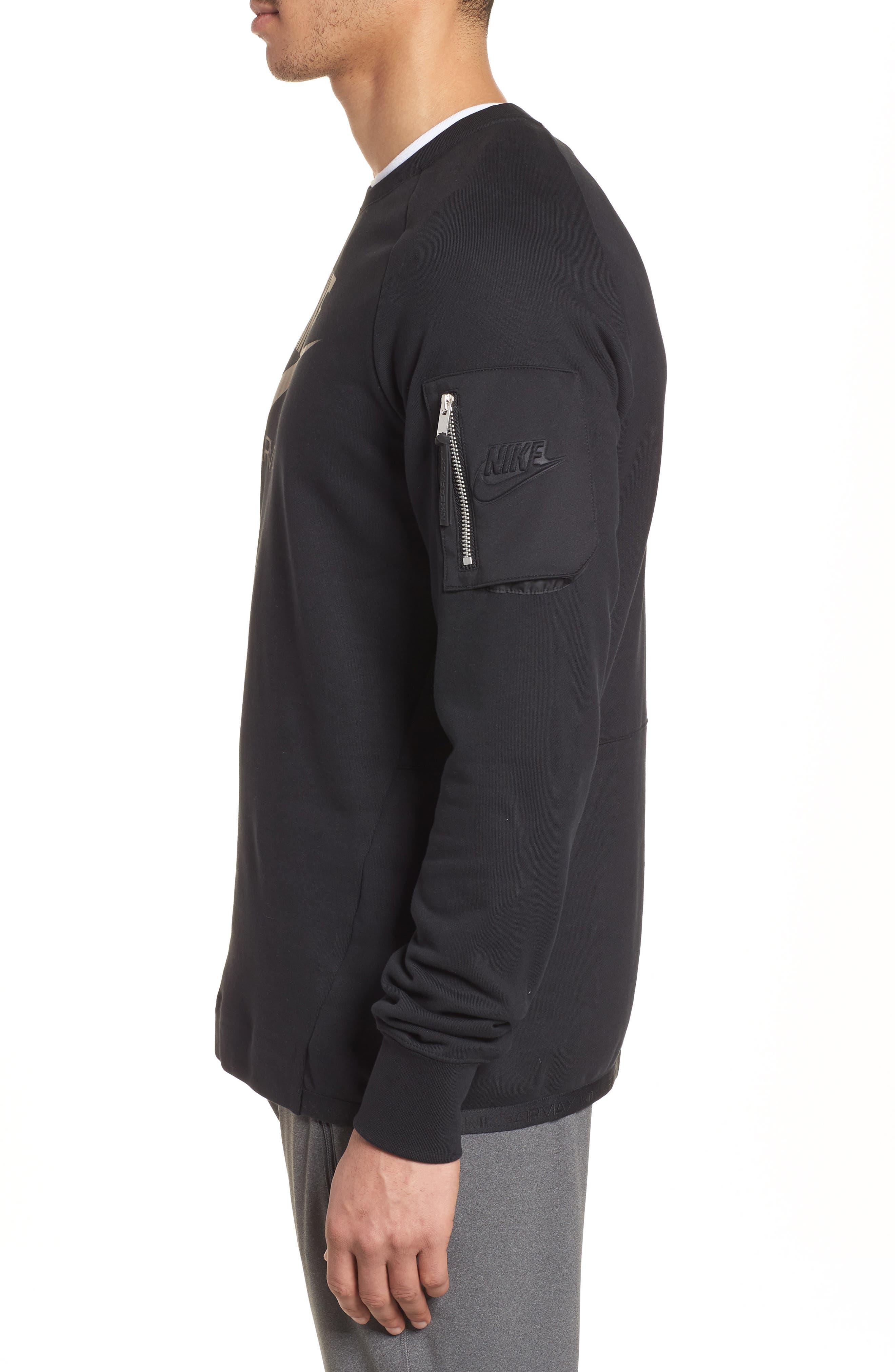 NSW Air Max Crewneck Sweatshirt,                             Alternate thumbnail 3, color,                             Black/ Black/ Black