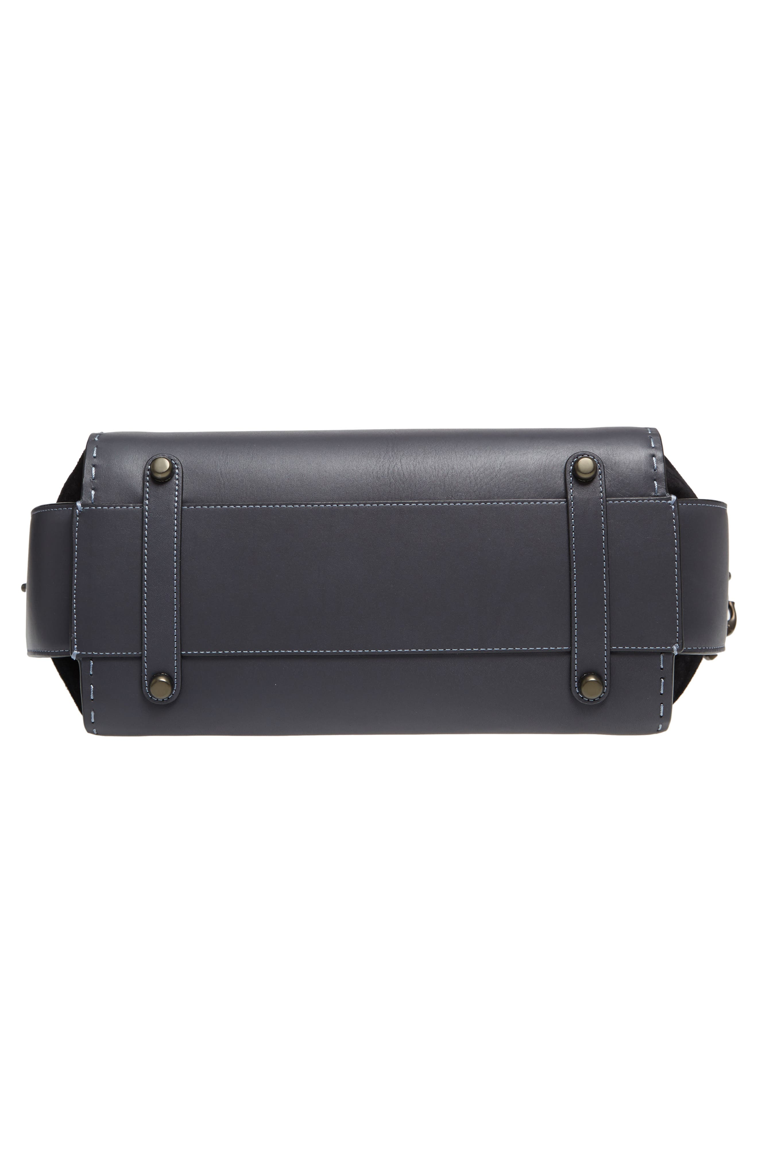 Double Swagger Leather Satchel,                             Alternate thumbnail 6, color,                             Navy