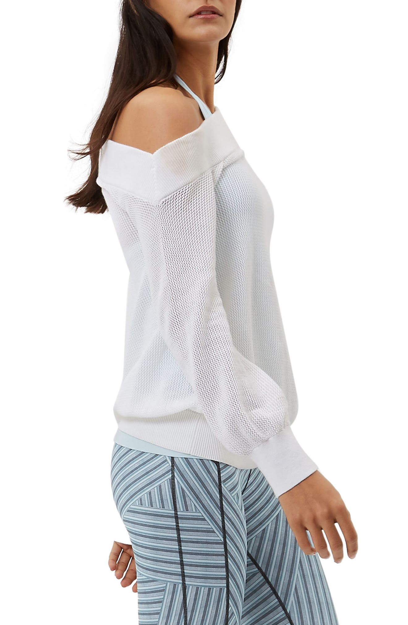 Sweat Betty Enliven One-Shoulder Sweater,                             Alternate thumbnail 3, color,                             White