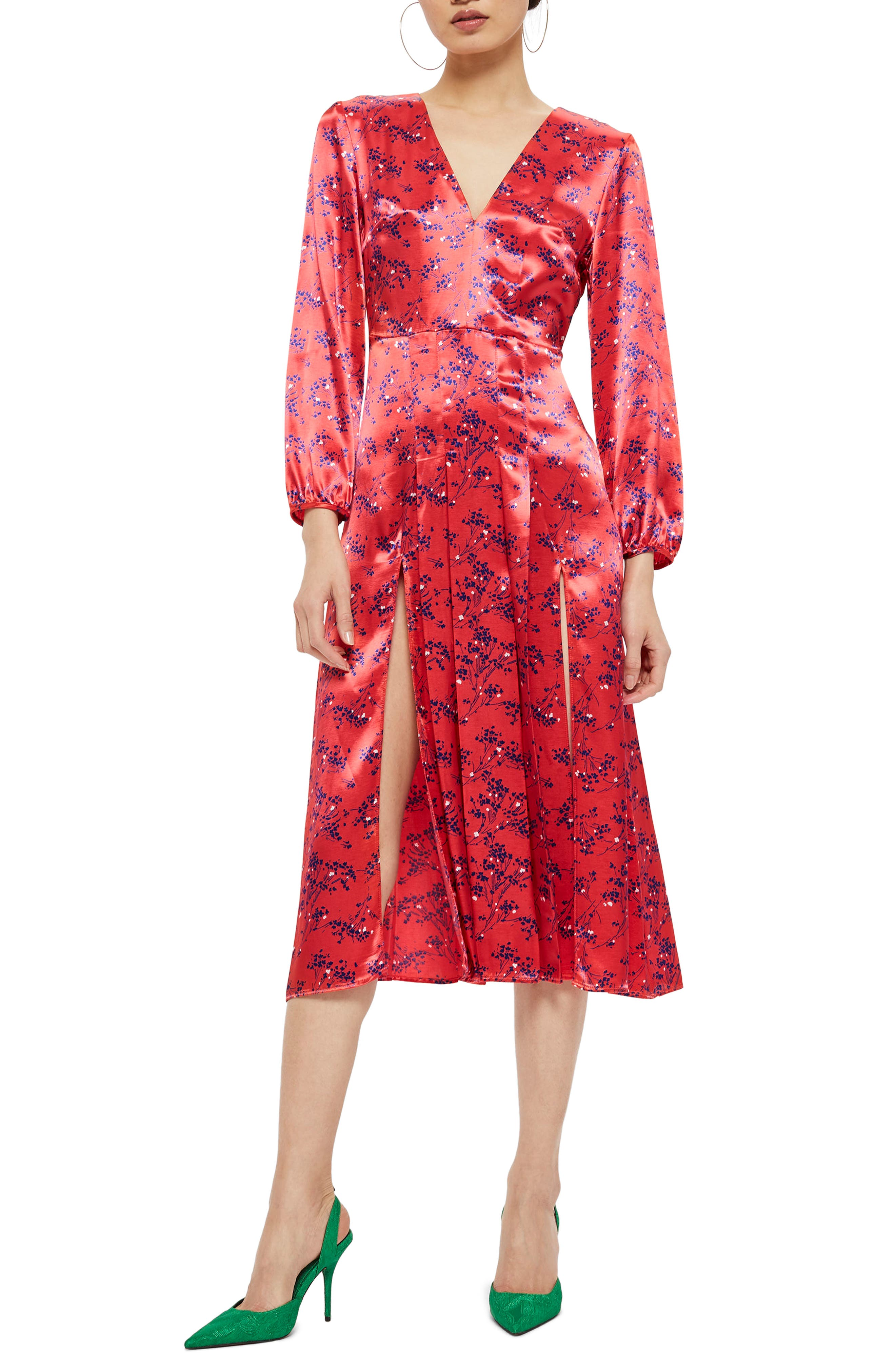 Wispy Floral Print Midi Dress,                             Main thumbnail 1, color,                             Red