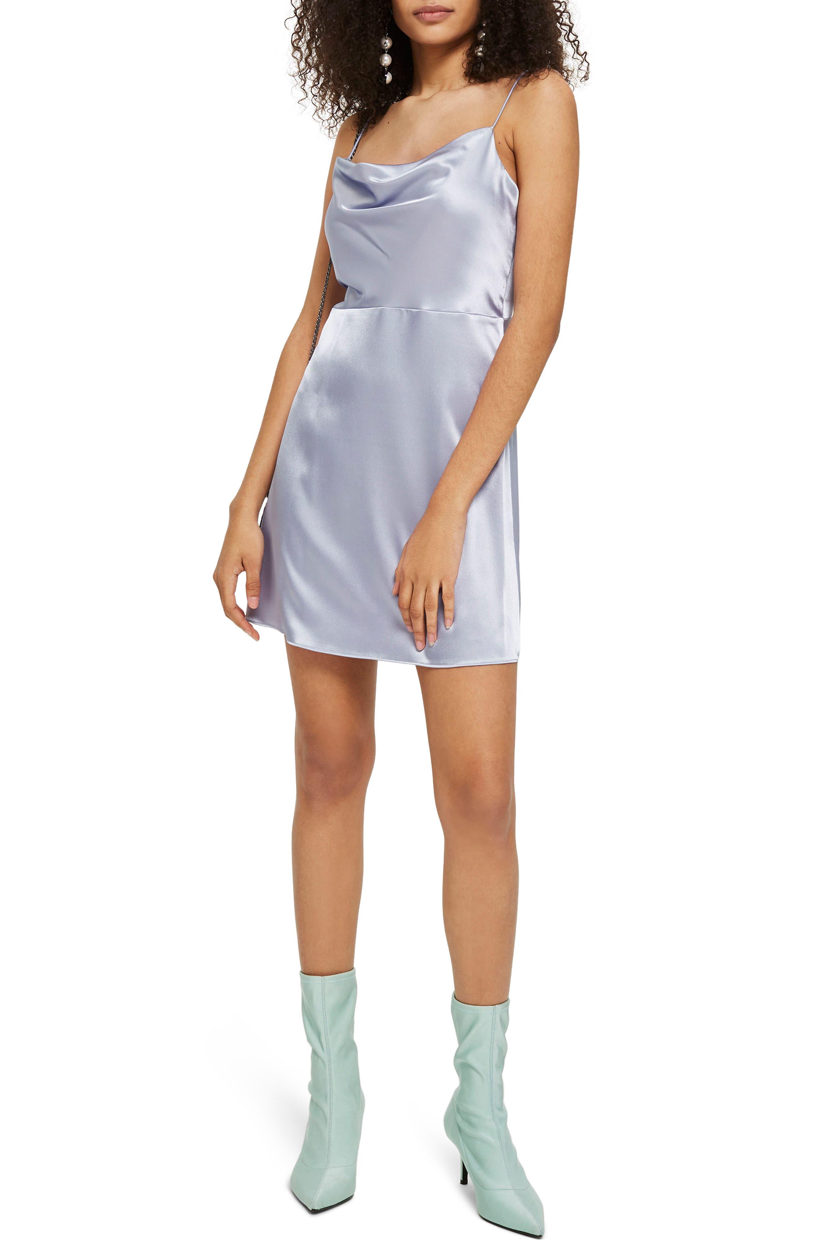 Cowl Neck Satin Mini Slipdress,                         Main,                         color, Light Blue