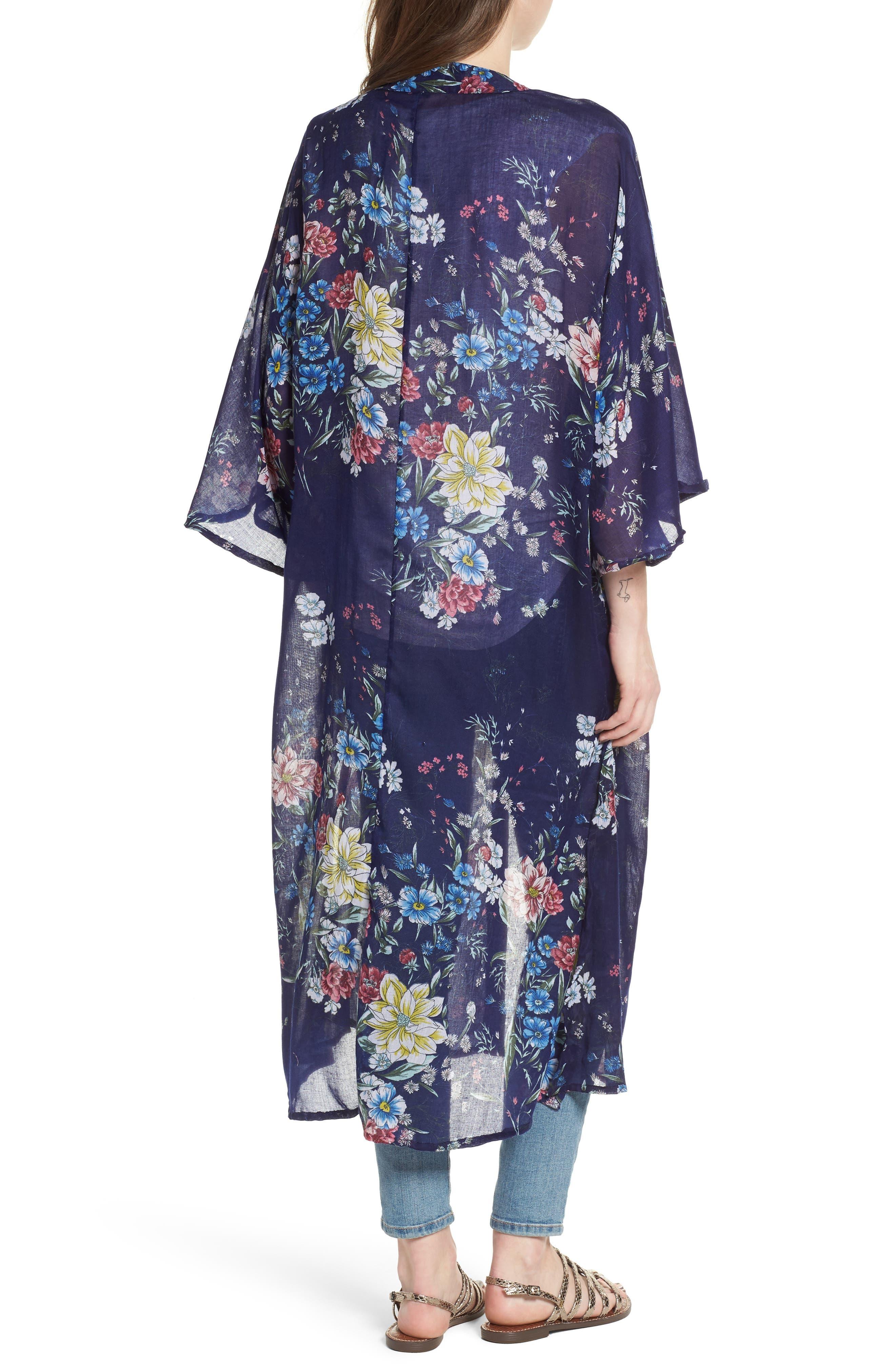 Floral Kimono Duster,                             Alternate thumbnail 2, color,                             Navy