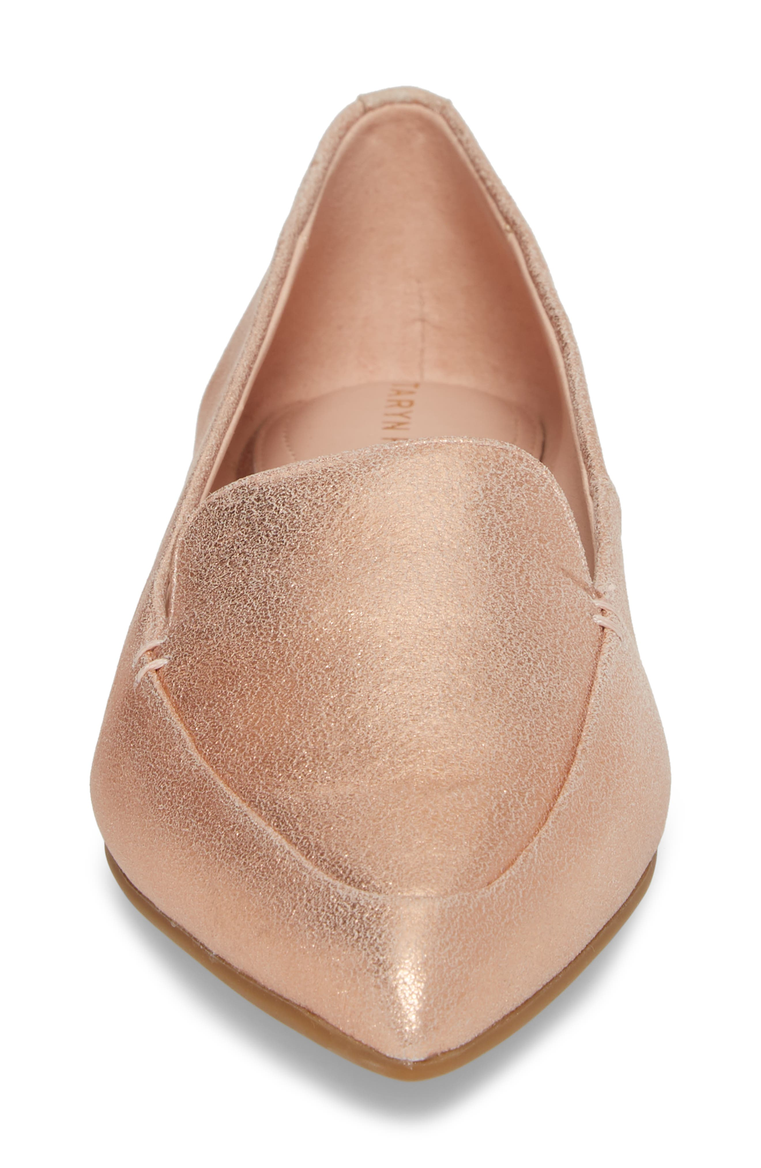 Faye Pointy Toe Loafer,                             Alternate thumbnail 4, color,                             Rose Gold Metallic Leather