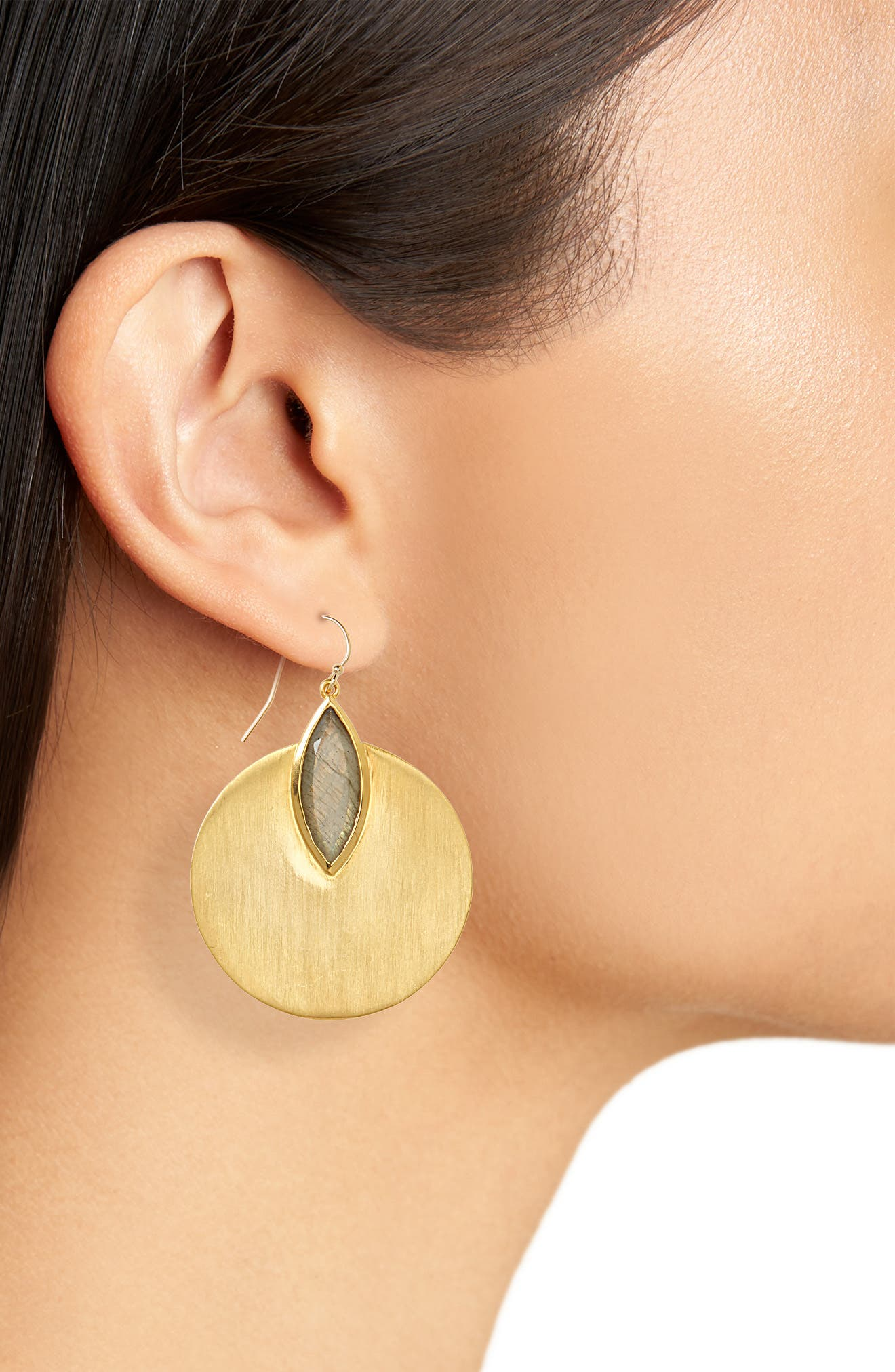 Lotus Disc Earrings,                             Alternate thumbnail 2, color,                             Labradorite/ Gold
