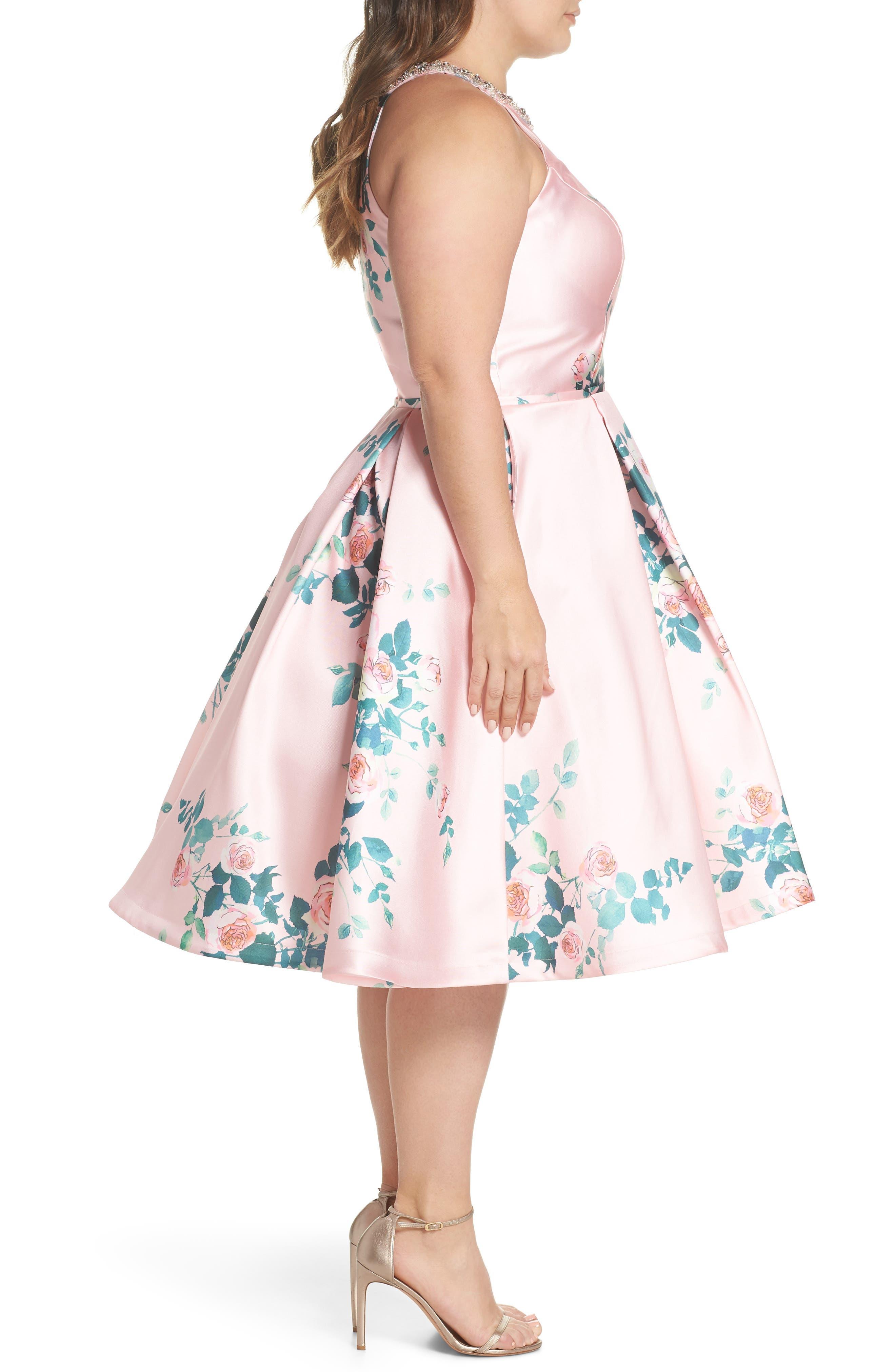 Floral Print Fit & Flare Dress,                             Alternate thumbnail 3, color,                             Pink Rose