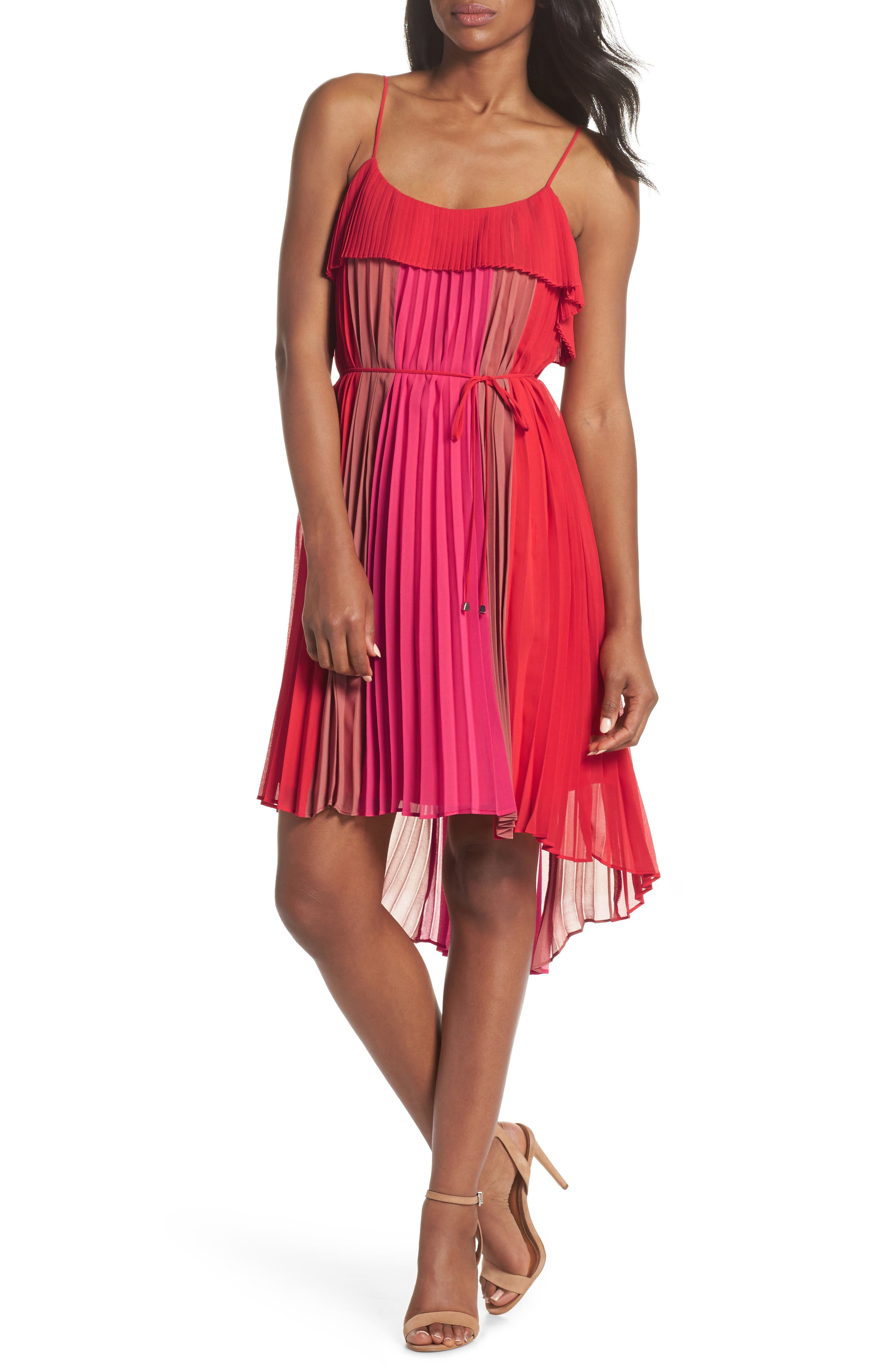 Pepper Pleated Dress,                         Main,                         color, Red Multi