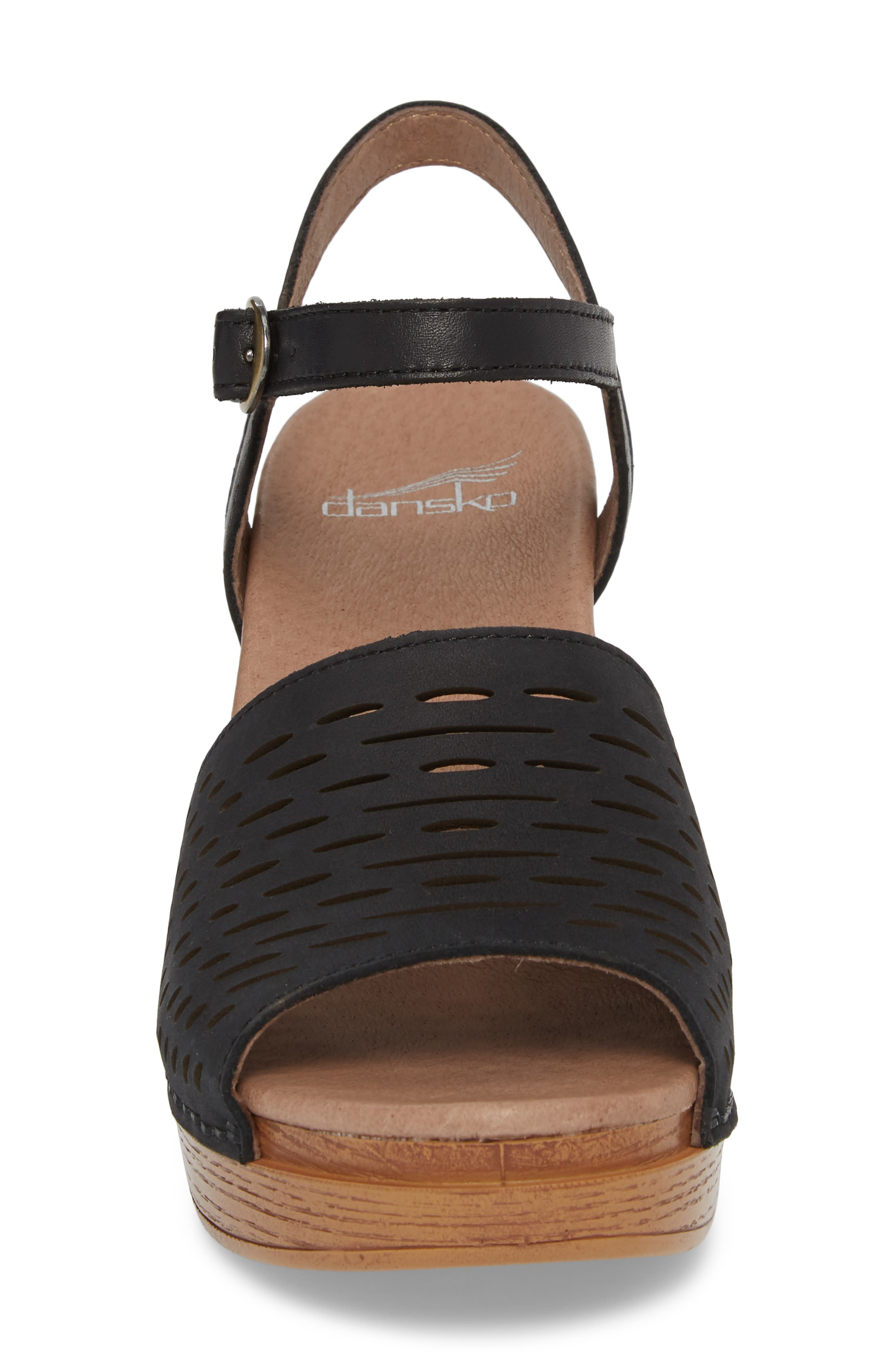 Denita Block Heel Sandal,                             Alternate thumbnail 4, color,                             Black Milled Nubuck Leather