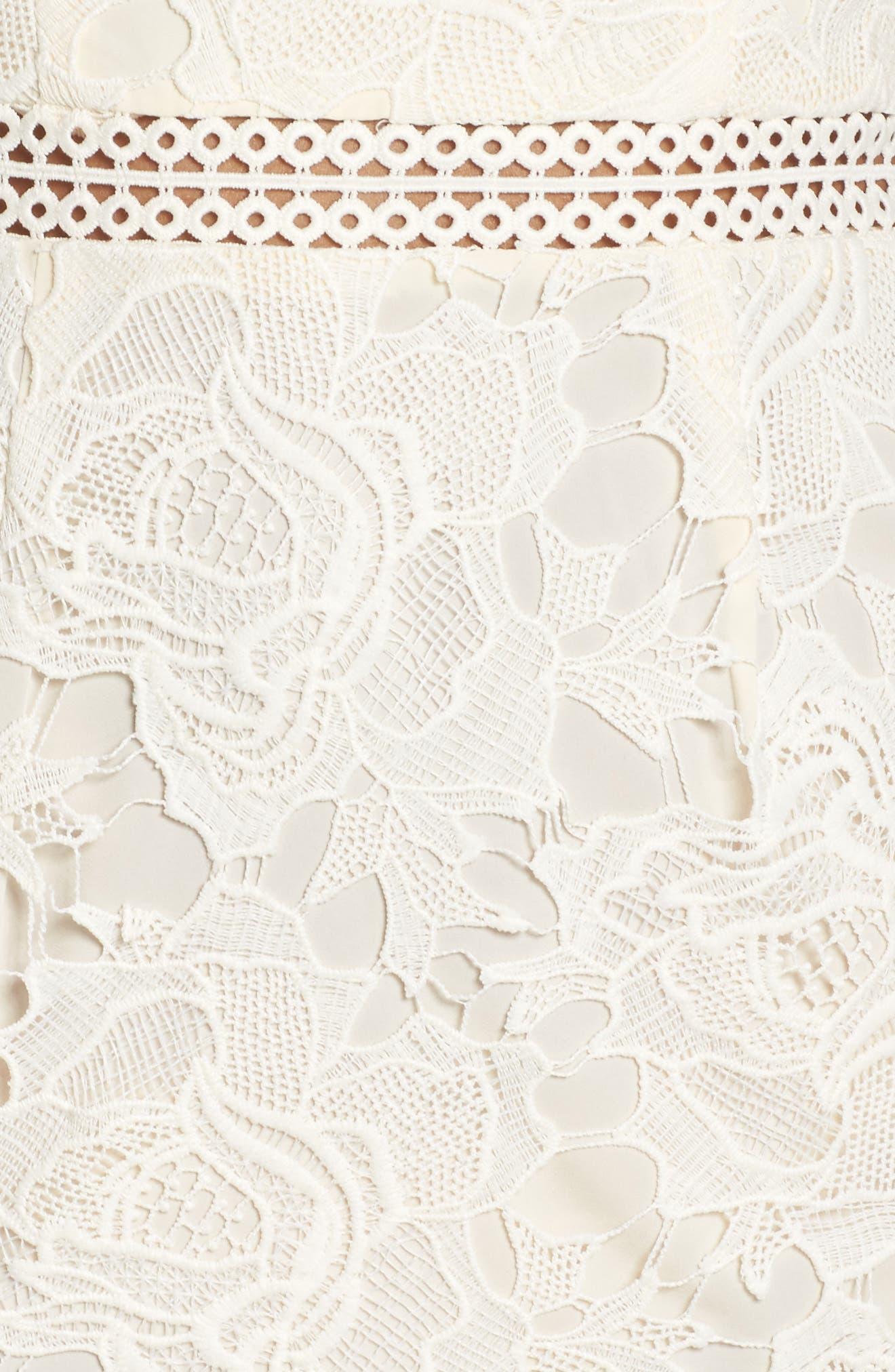 Lustrous High Neck Lace Sheath Dress,                             Alternate thumbnail 5, color,                             Coconut Milk