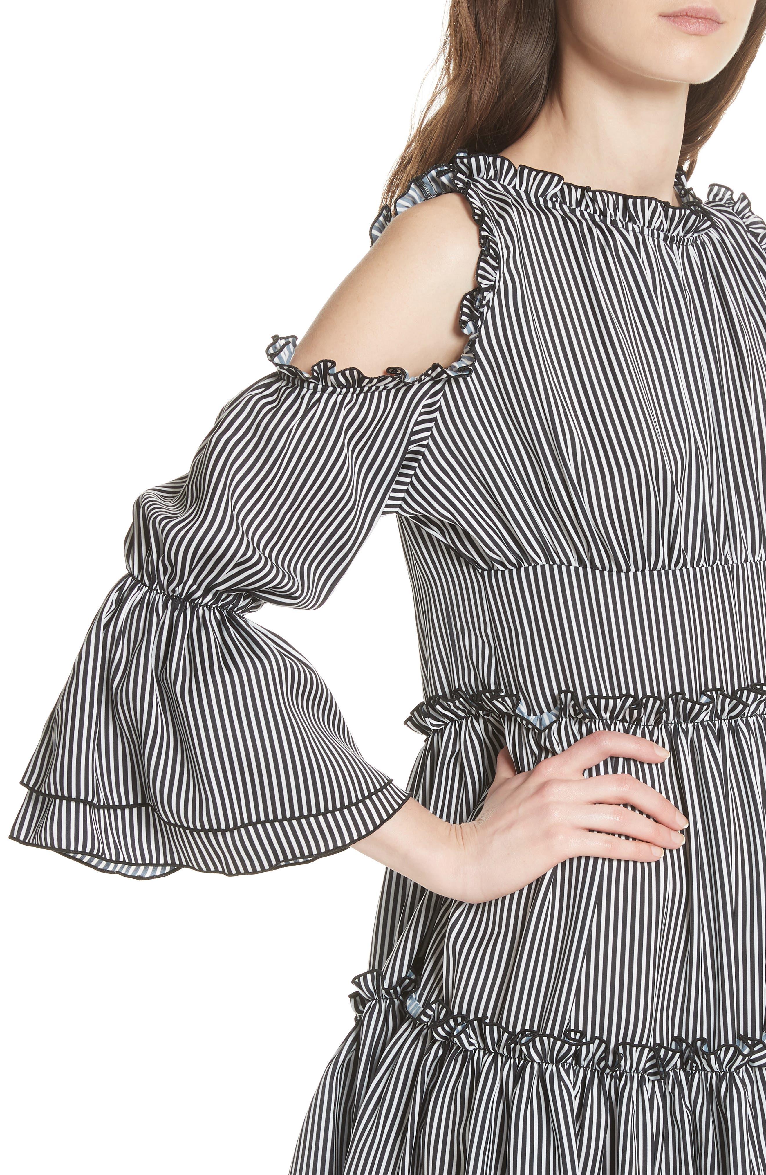 Radise Cold Shoulder Ruffled Minidress,                             Alternate thumbnail 4, color,                             Stripe