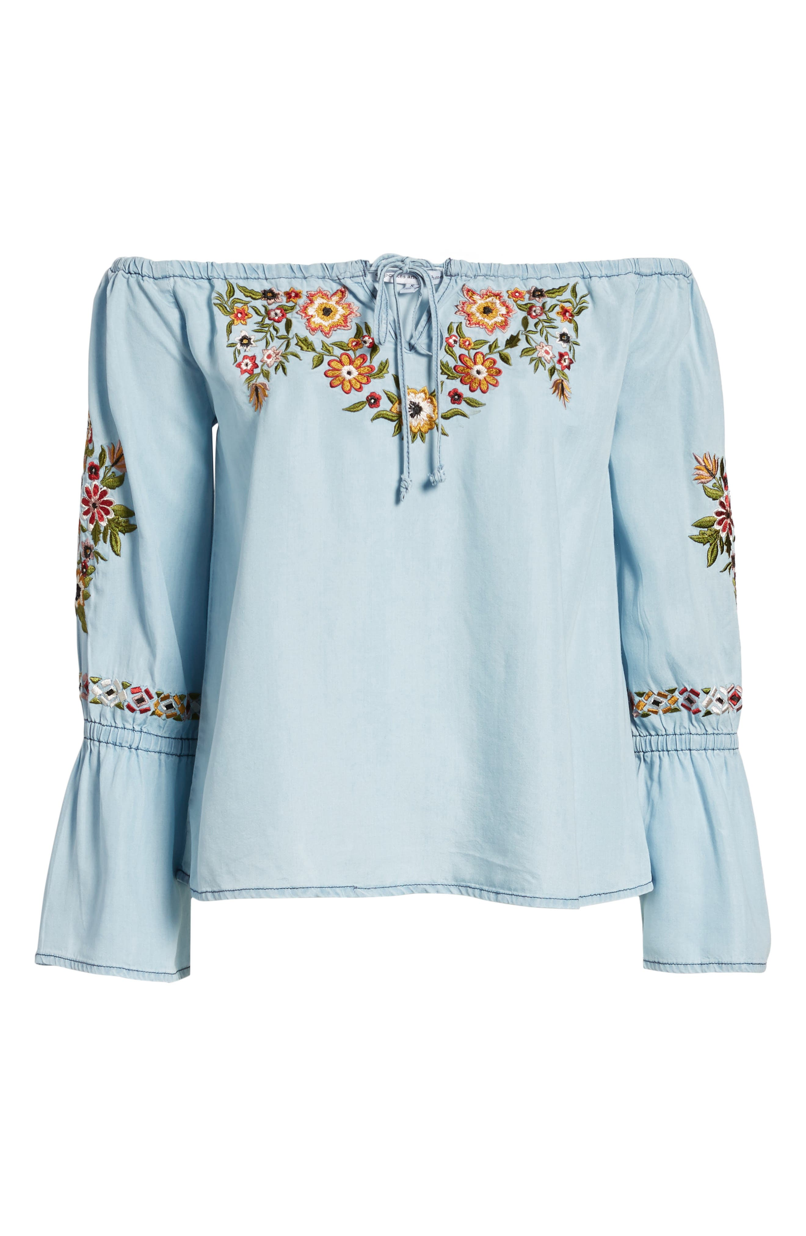 Adrien Off the Shoulder Top,                             Alternate thumbnail 7, color,                             Chambray