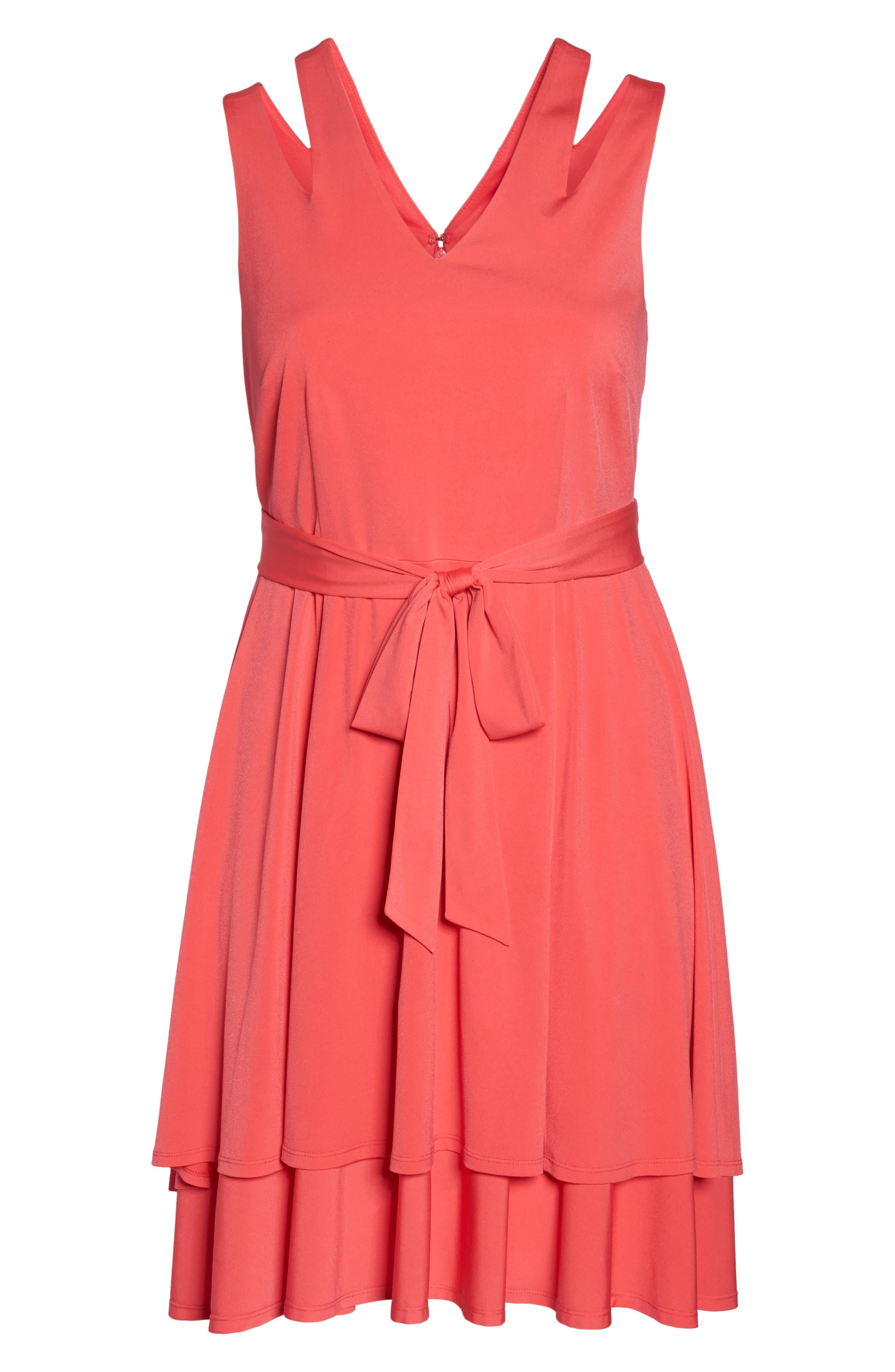 Split Shoulder High/Low Knit Dress,                             Alternate thumbnail 6, color,                             Pink