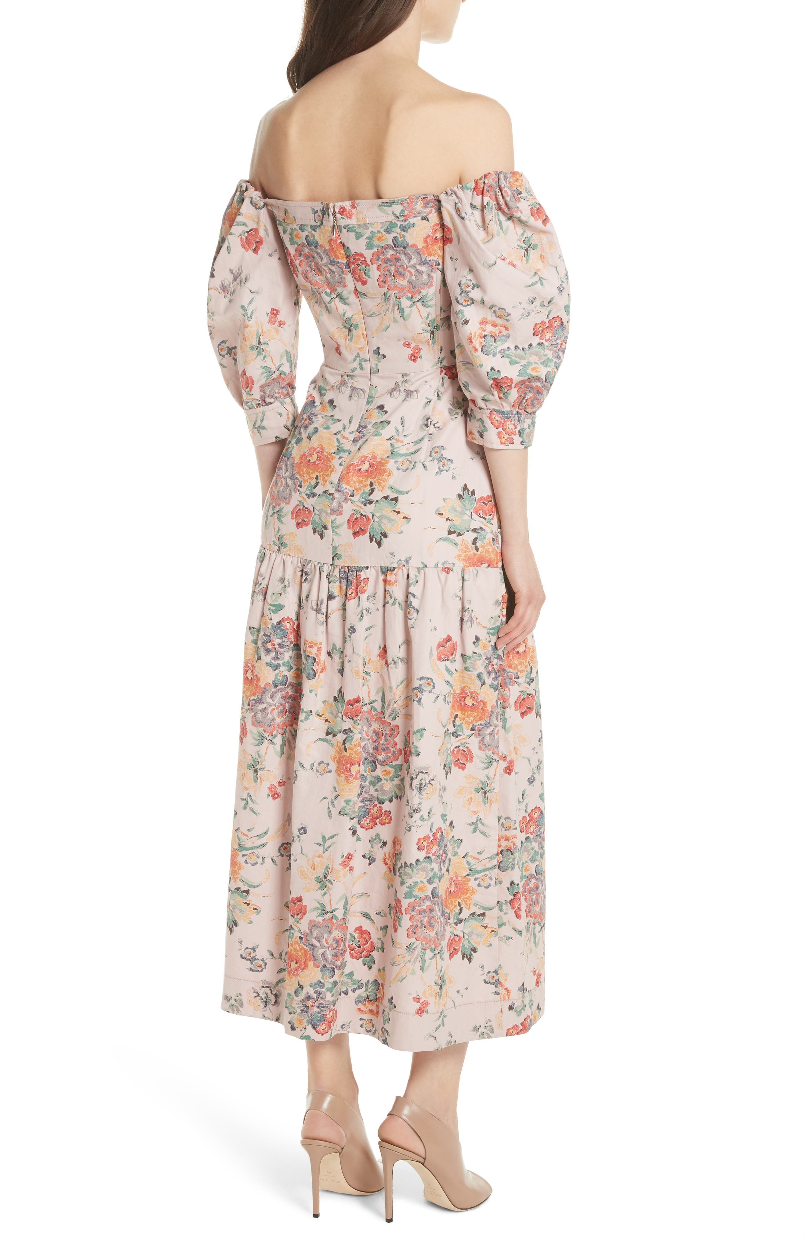 Marlena Off the Shoulder Floral Midi Dress,                             Alternate thumbnail 2, color,                             Dusty Rose Combo