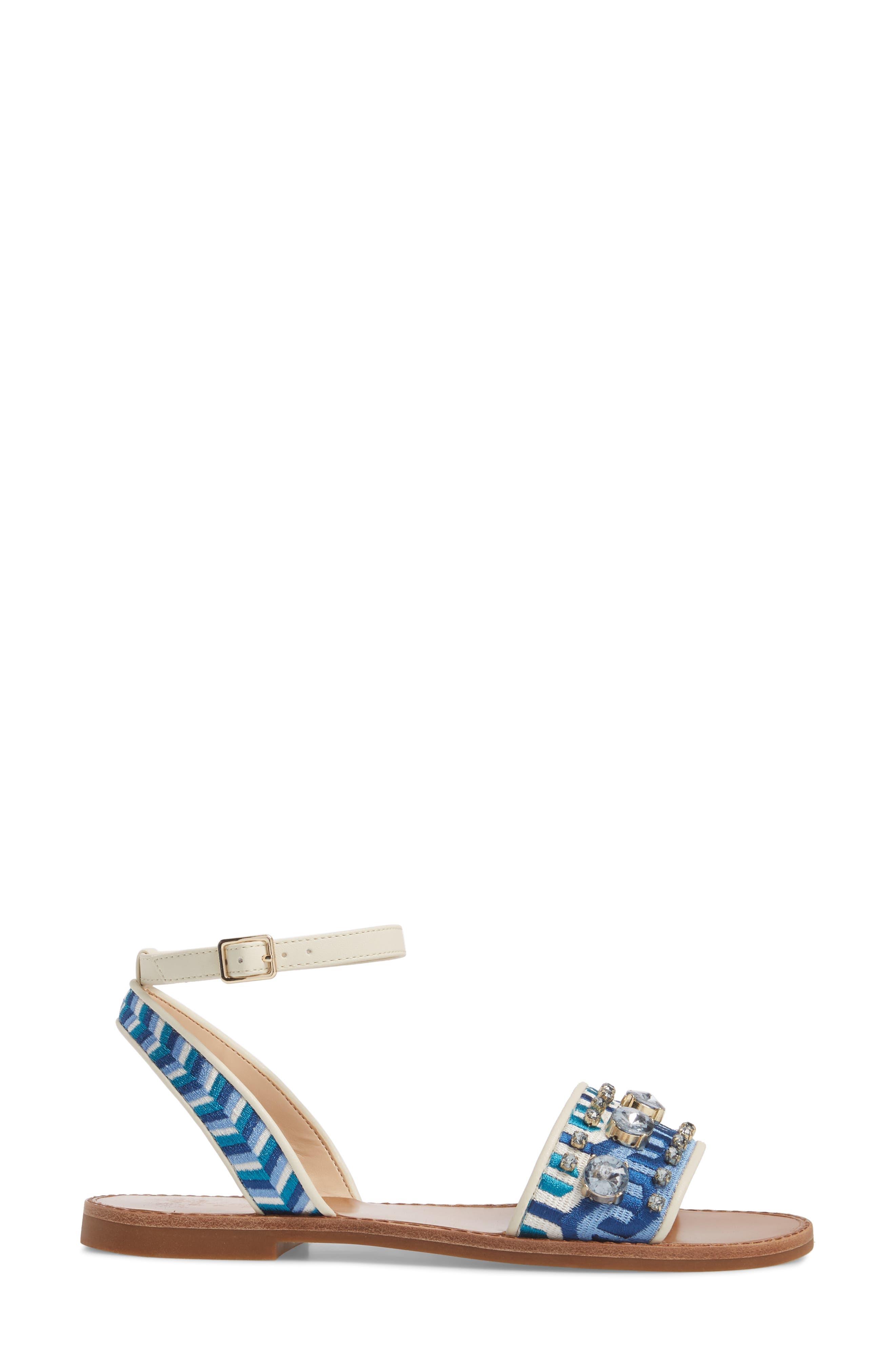 Akitta Sandal,                             Alternate thumbnail 3, color,                             Blue Multi/ Vanilla Fabric