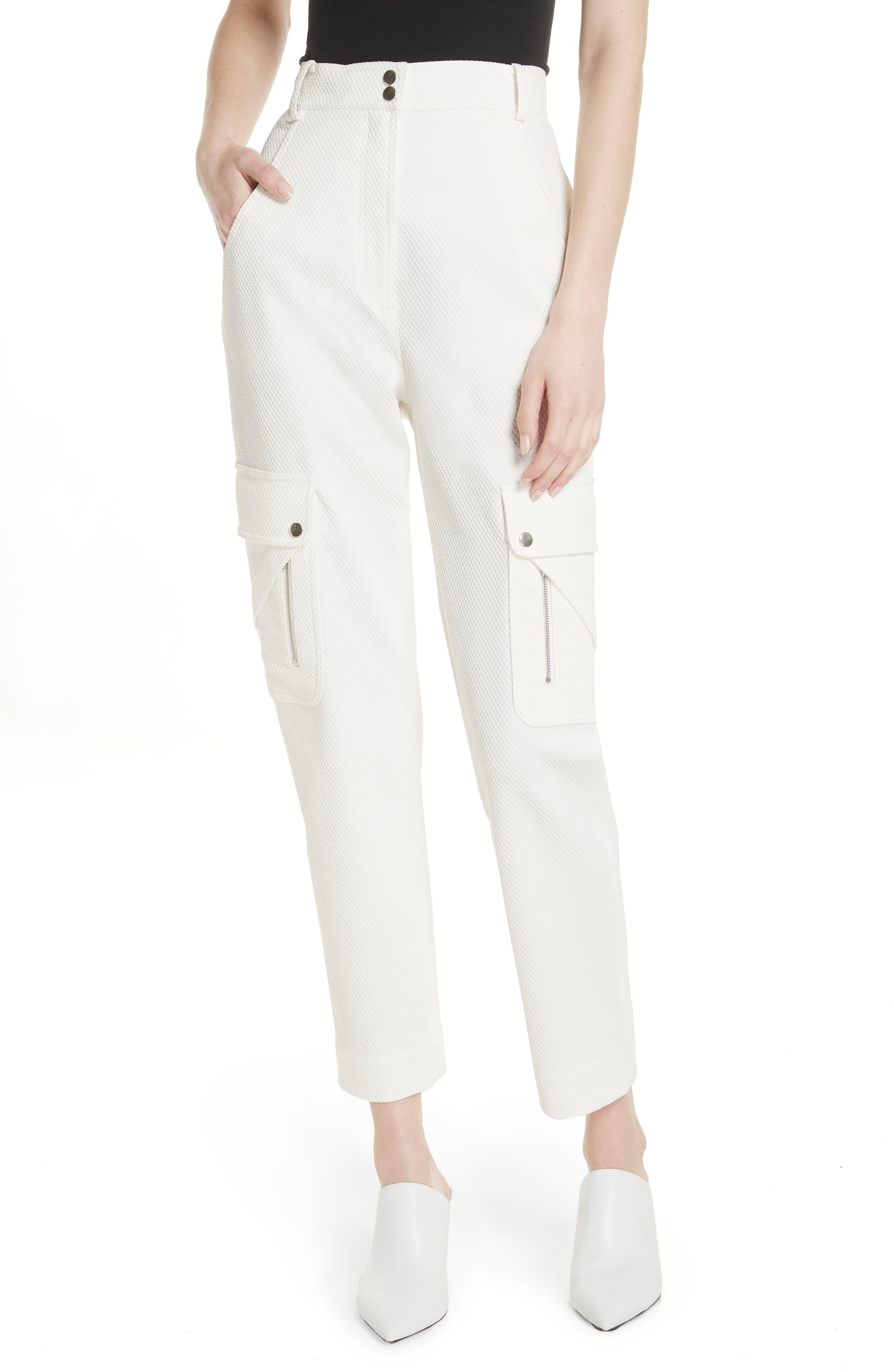 Textured Stretch Cotton Blend Utility Pants,                             Main thumbnail 1, color,                             Soft White